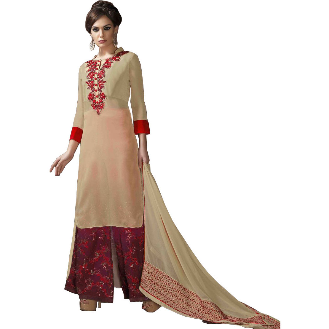 Beige and Red Designer Long Palazzo Salwar Suit with Embroidered Patch on Neck and Sequins on Salwar