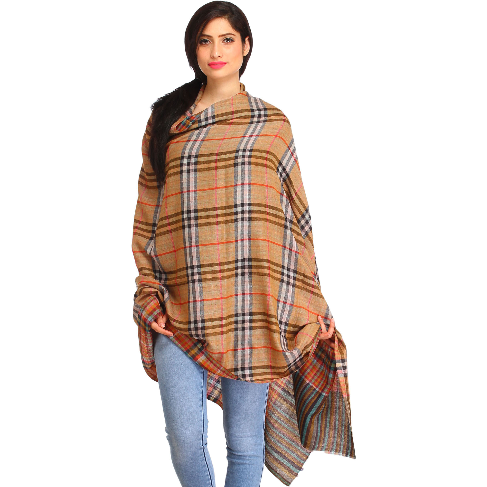 Reversible Burberry Shawl with Woven Checks
