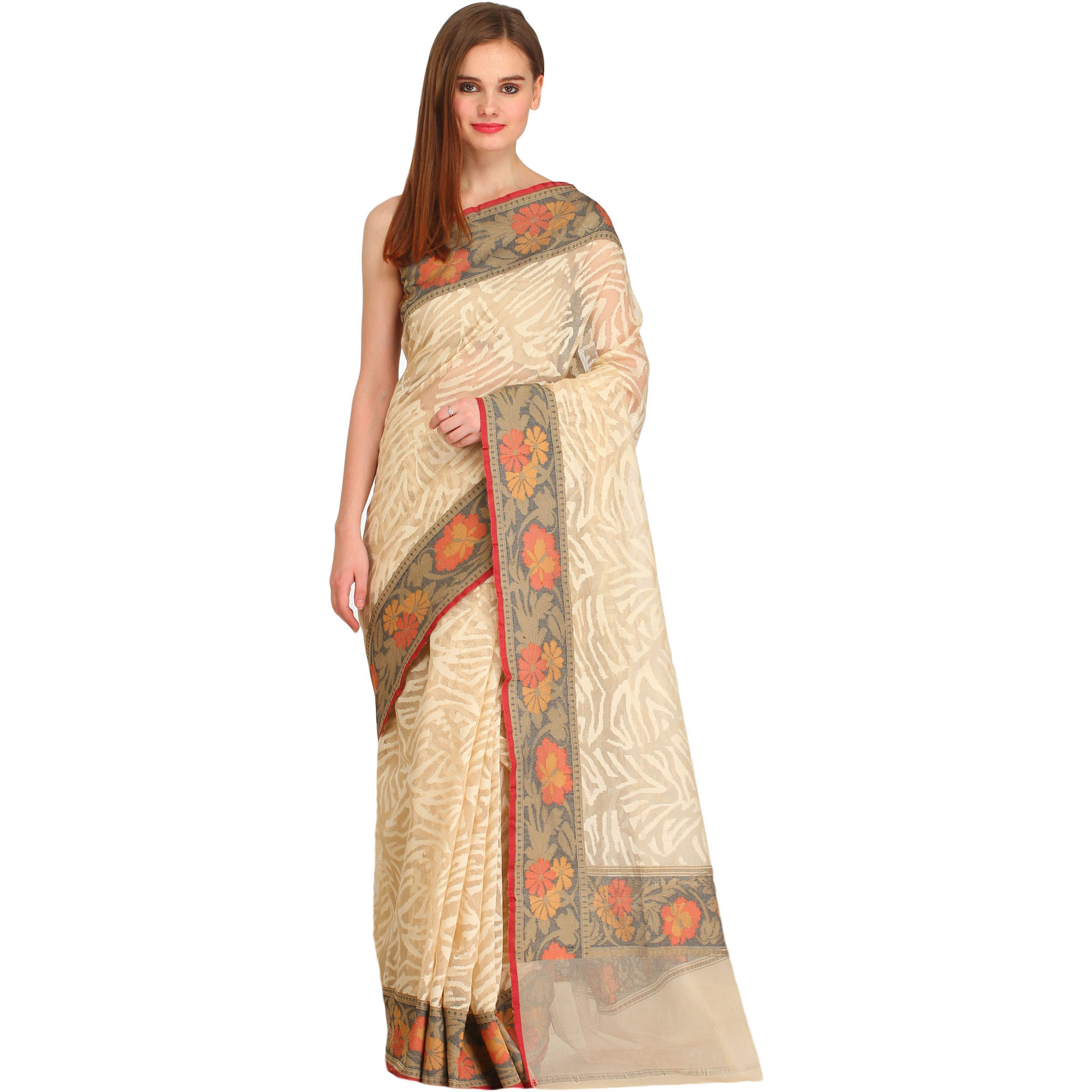 Cream Self-Weave Net Sari from Banaras with Hand-Woven Flowers on Border