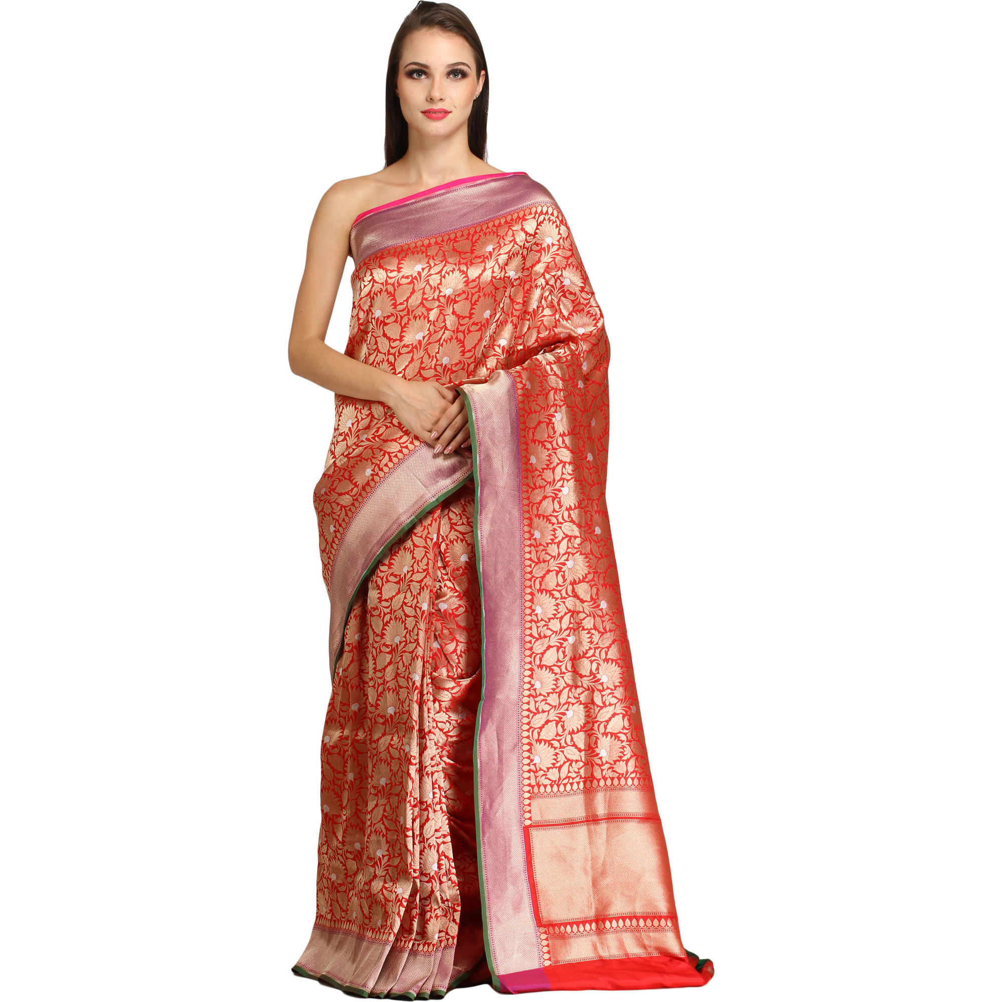 Bridal-Red Brocaded Handloom Banarasi Sari with Zari-Woven Lotuses All-Over
