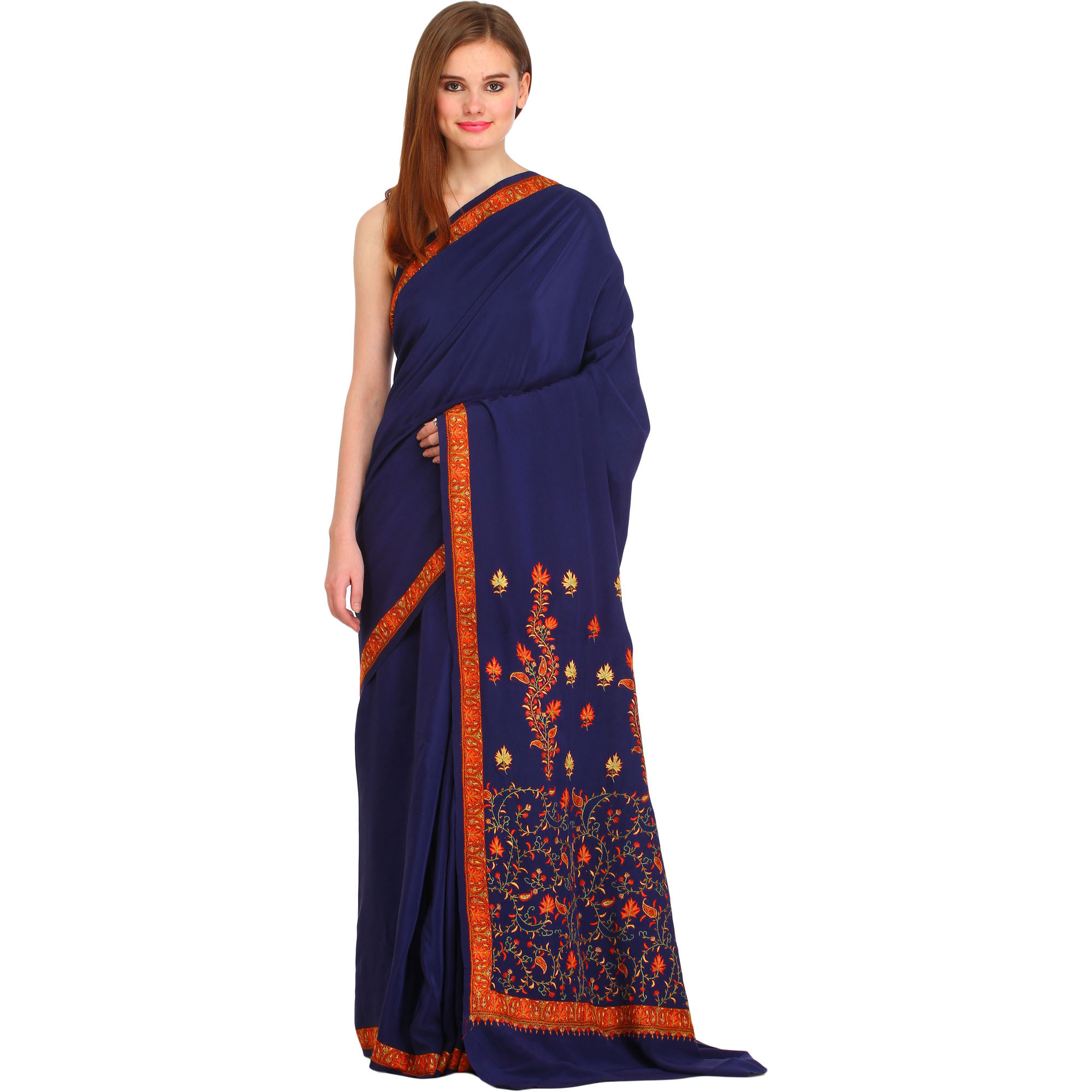 Blue-Depths Plain Kashmiri Sari with Needle Hand-Embroidered Maple Leaves on Pallu