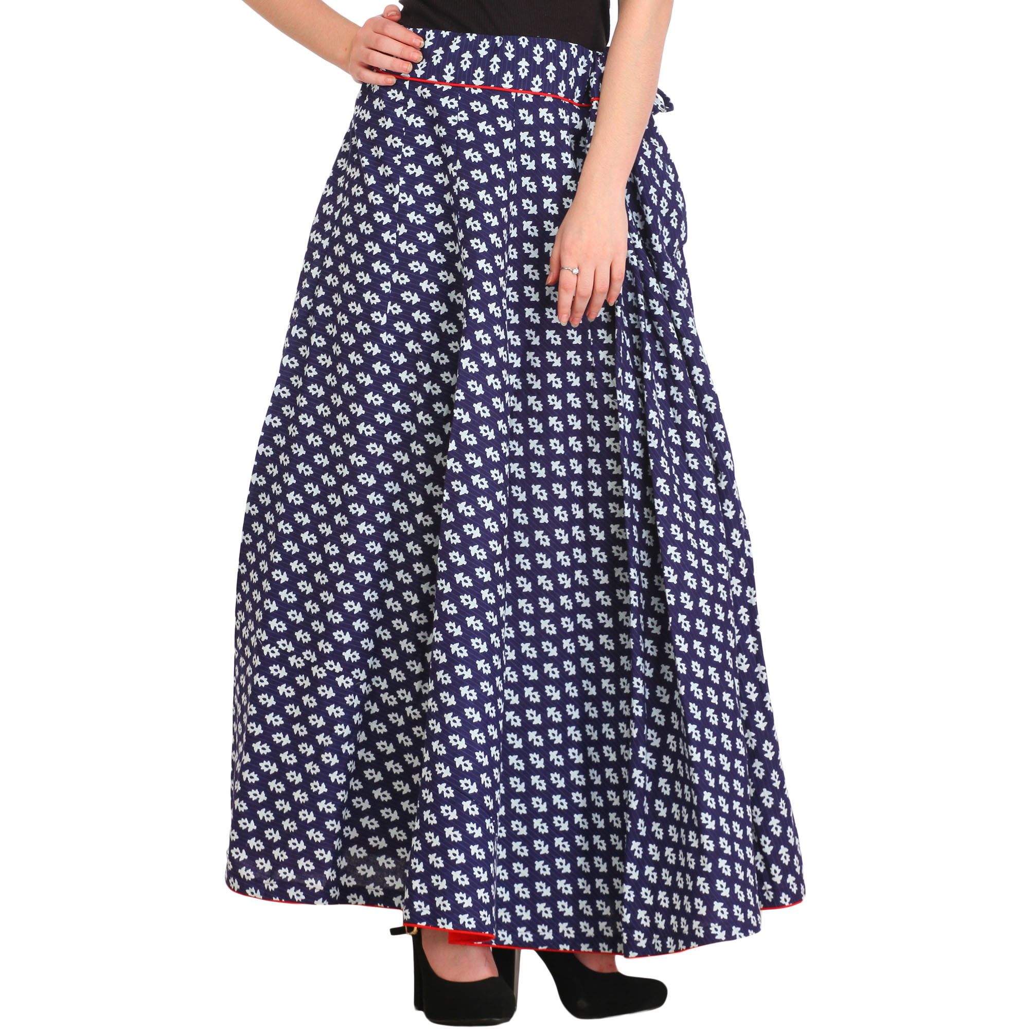 Twilight-Blue Long Ghagra Skirt with Block-Printed Bootis and Piping