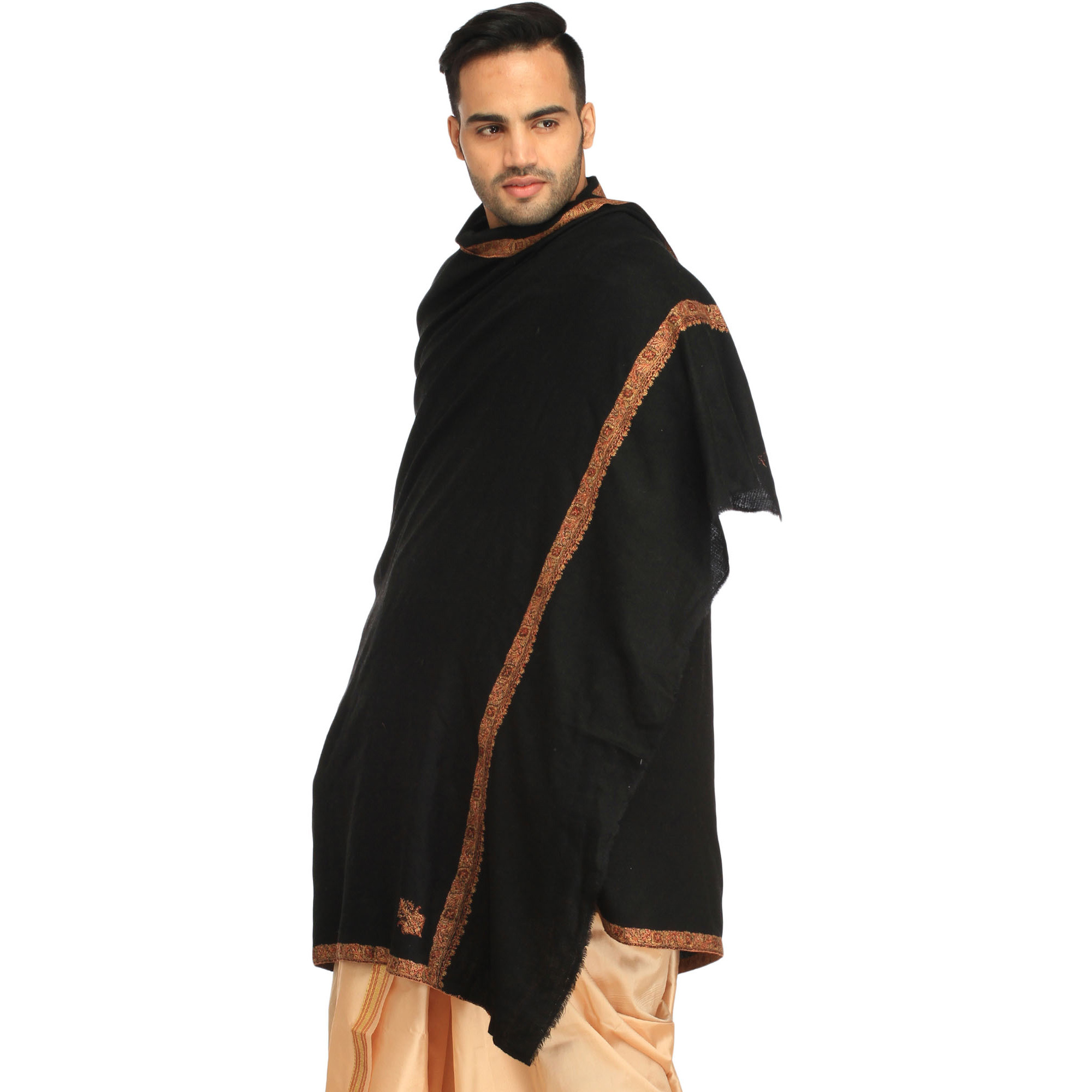 Jet-Black Plain Kashmiri Pashmina Shawl for Men with Sozni Hand-Embroidery on Border