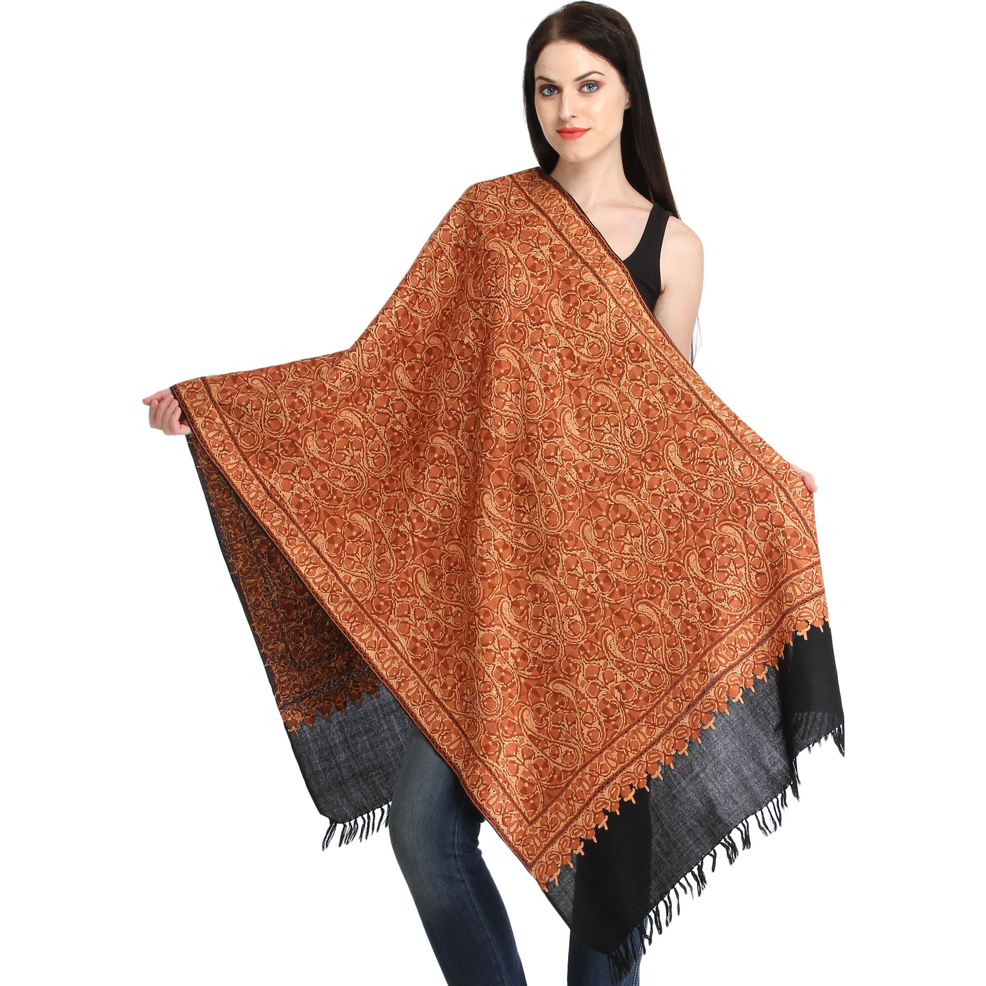 Brown and Black Kashmiri Stole with Ari Hand-Embroidered Paisleys All-Over