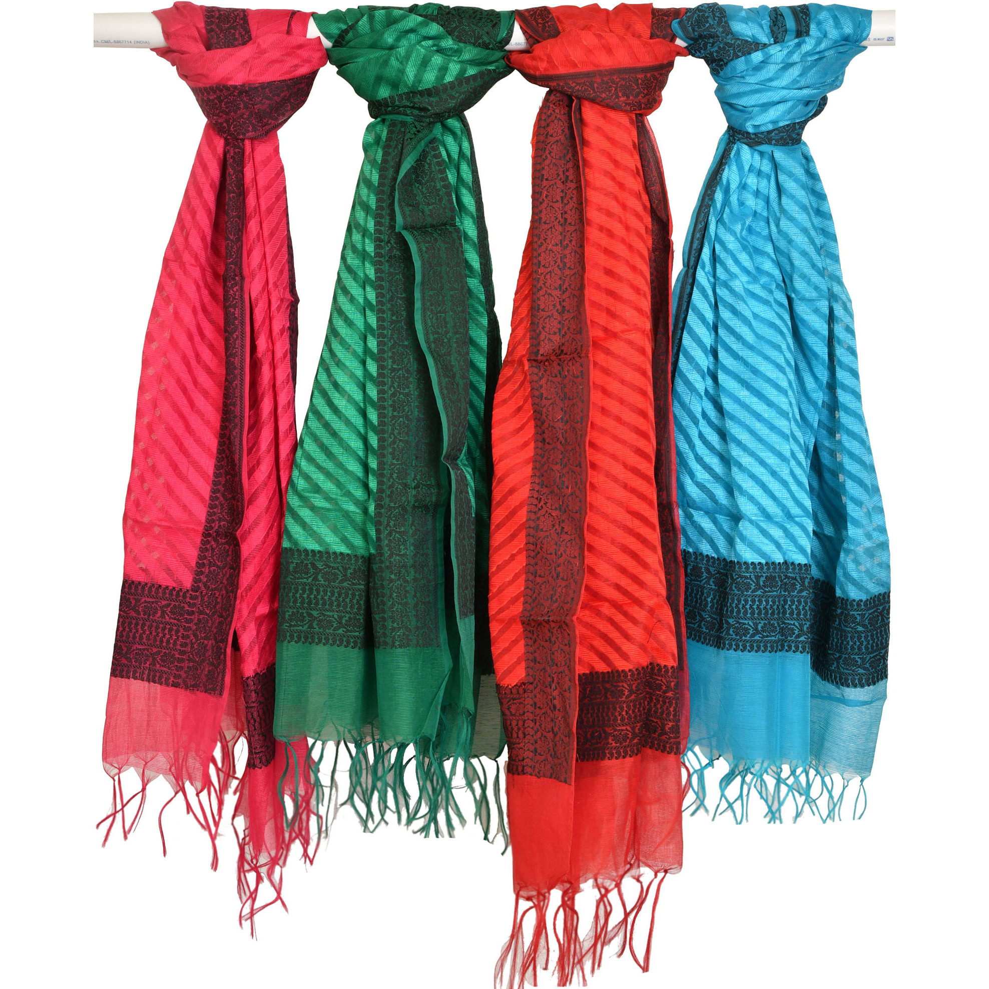 Lot of Four Dupatta with Woven Border and Stripes