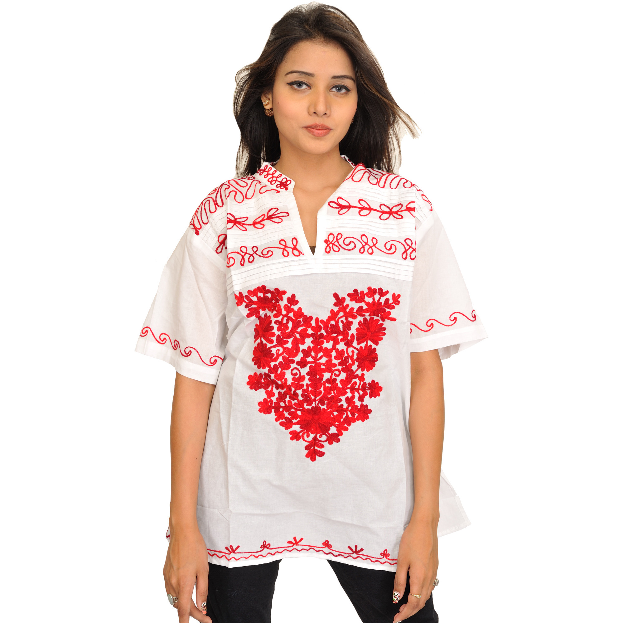 White and Red Wool-Embroidered Kurti