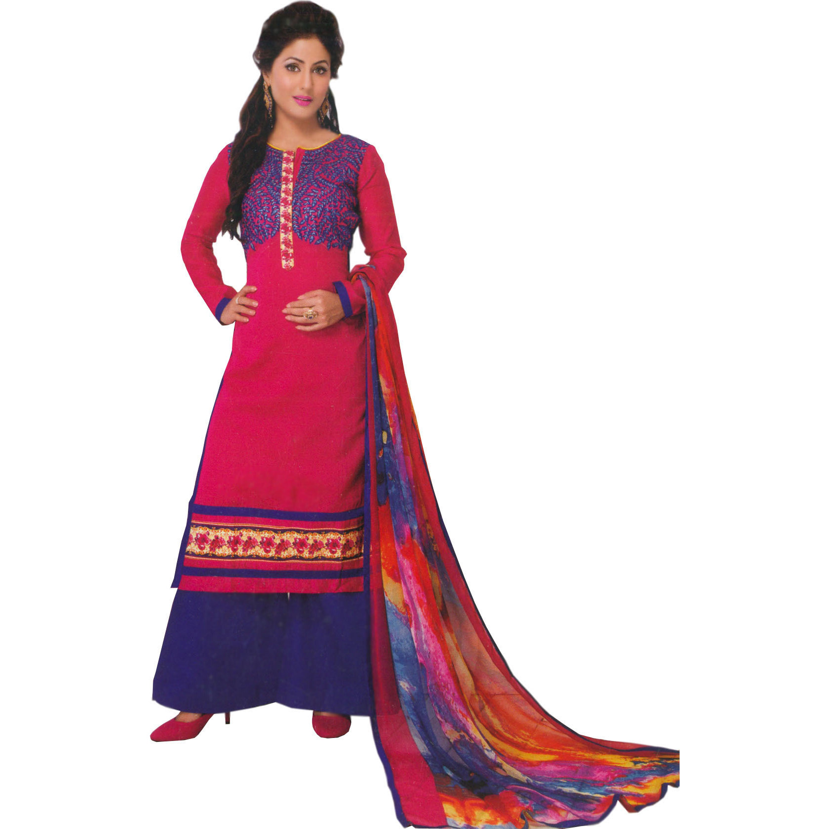 Magenta and Blue Long Palazzo Salwar Suit with Embroidered Leaves and Digital-Printed Dupatta