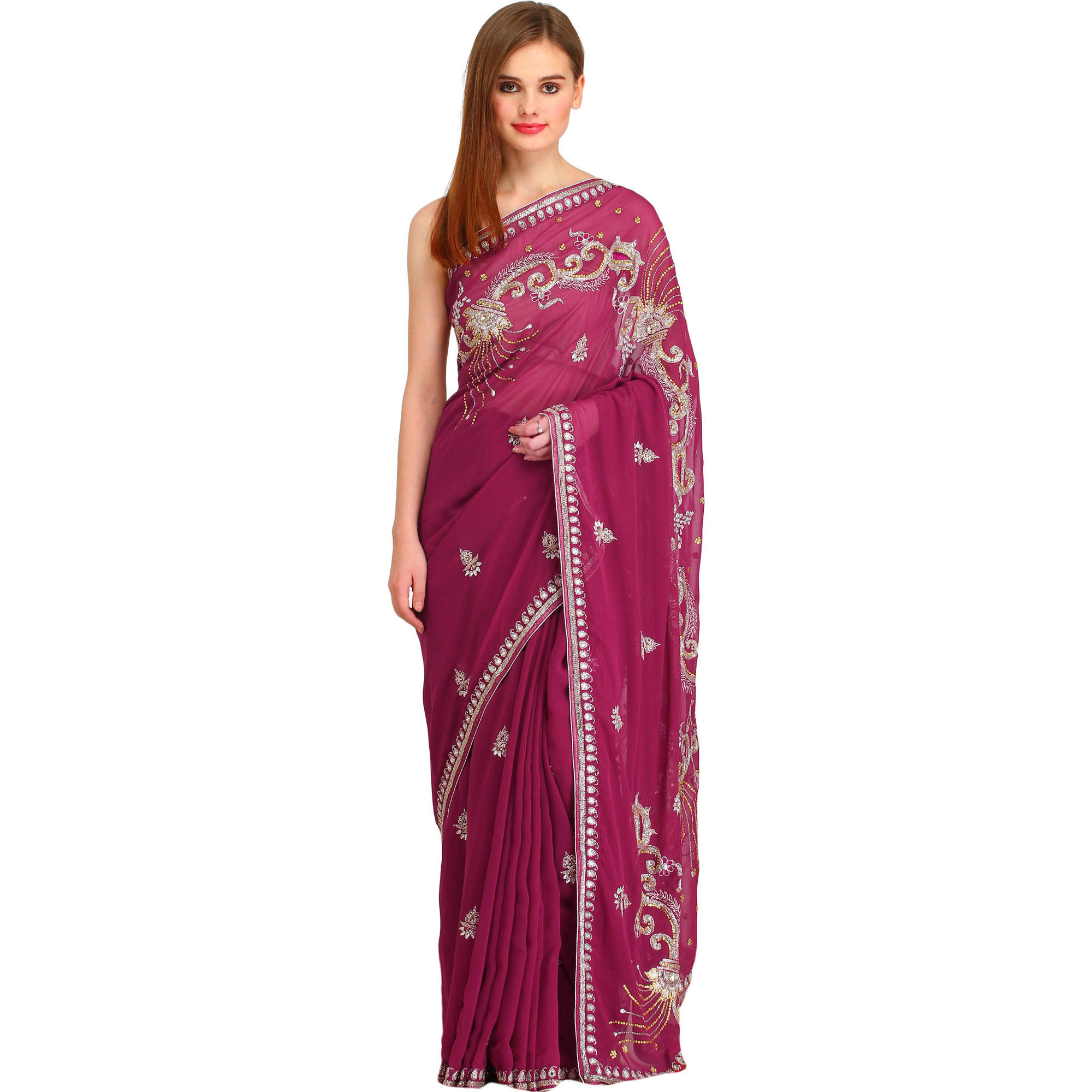 Violet-Quartz Designer Wedding Sari with Embroidered-Beads and Stone-work