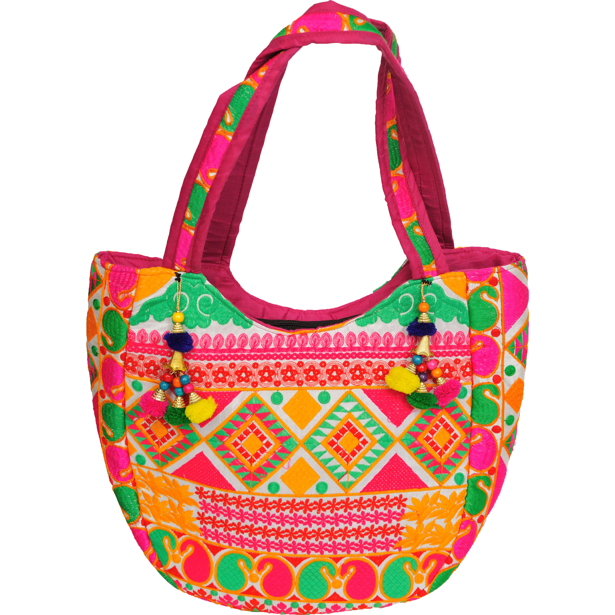 Multicolored Shopper Bag from Gujarat with Thread-Embroidery All-Over