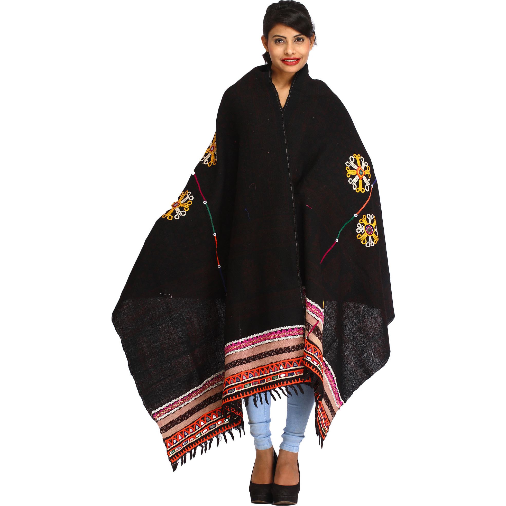 Licorice-Black Antiquated Shawl from Kutch with Rabari Embroidery and Mirrors