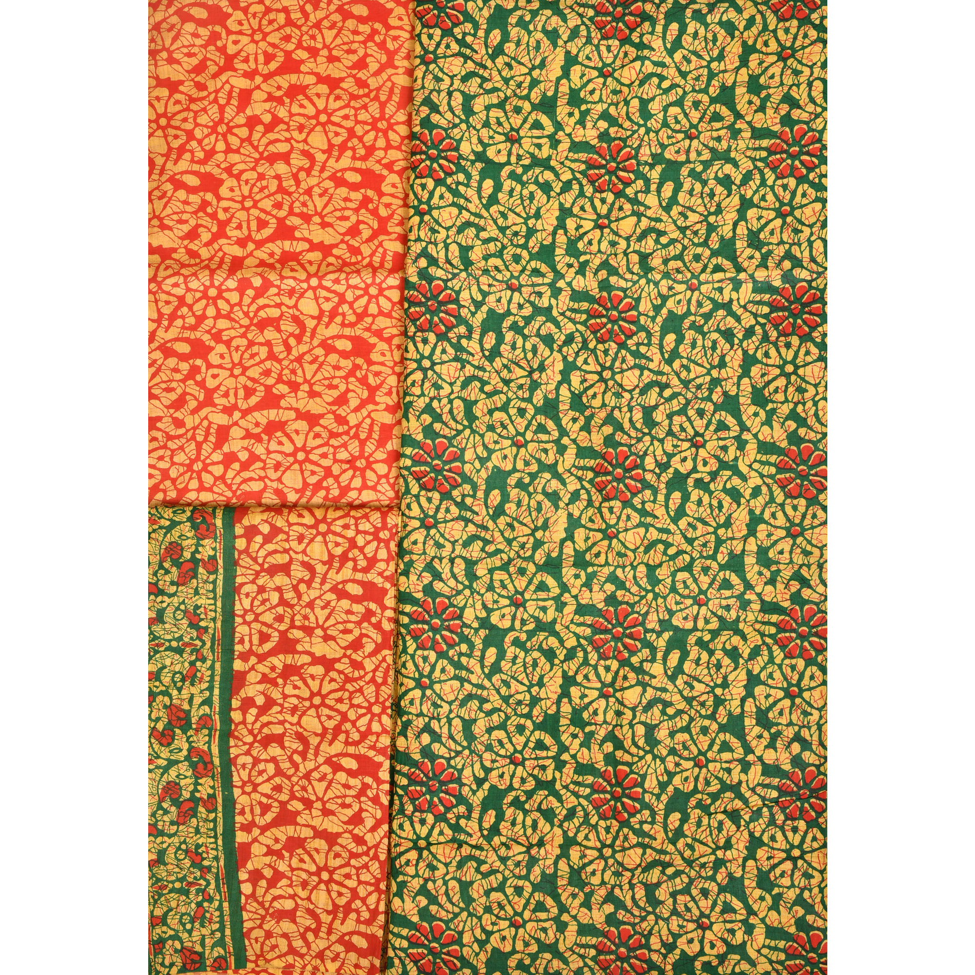 Green and Red Foral-Printed Salwar Kameez Fabric