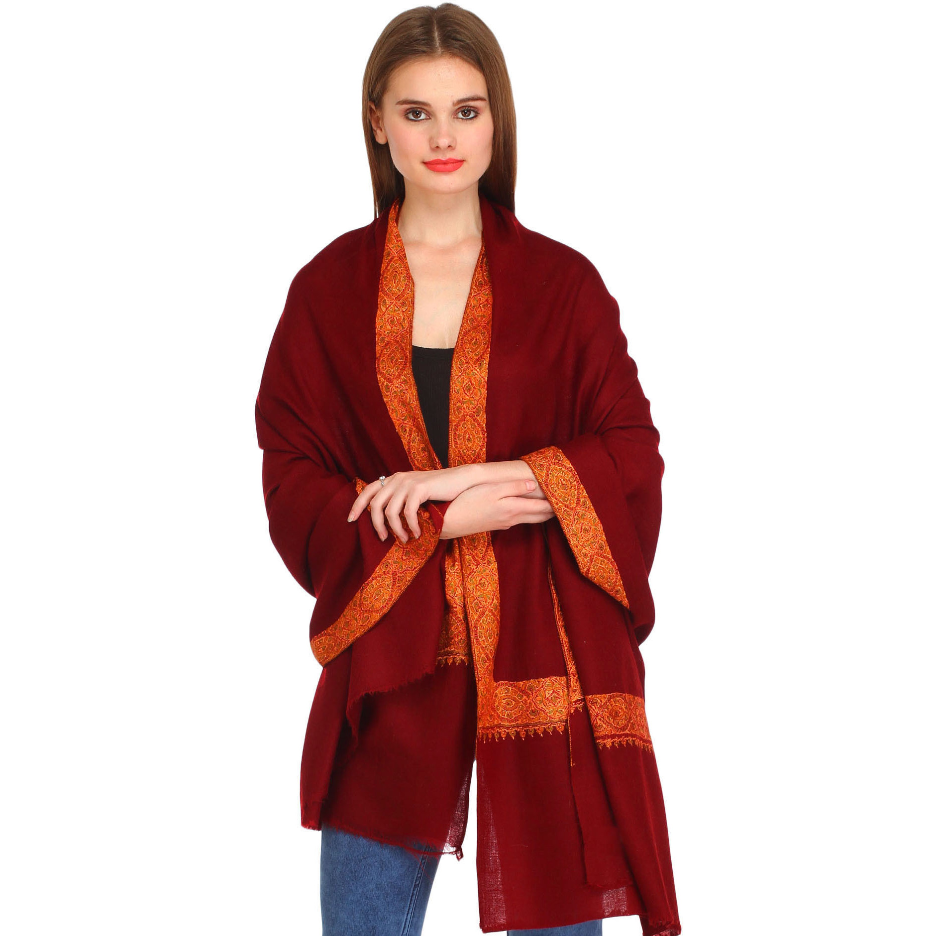 Cordovan-Red Plain Pure Pashmina Shawl from Kashmir with Needle Hand-Embroidery on Border