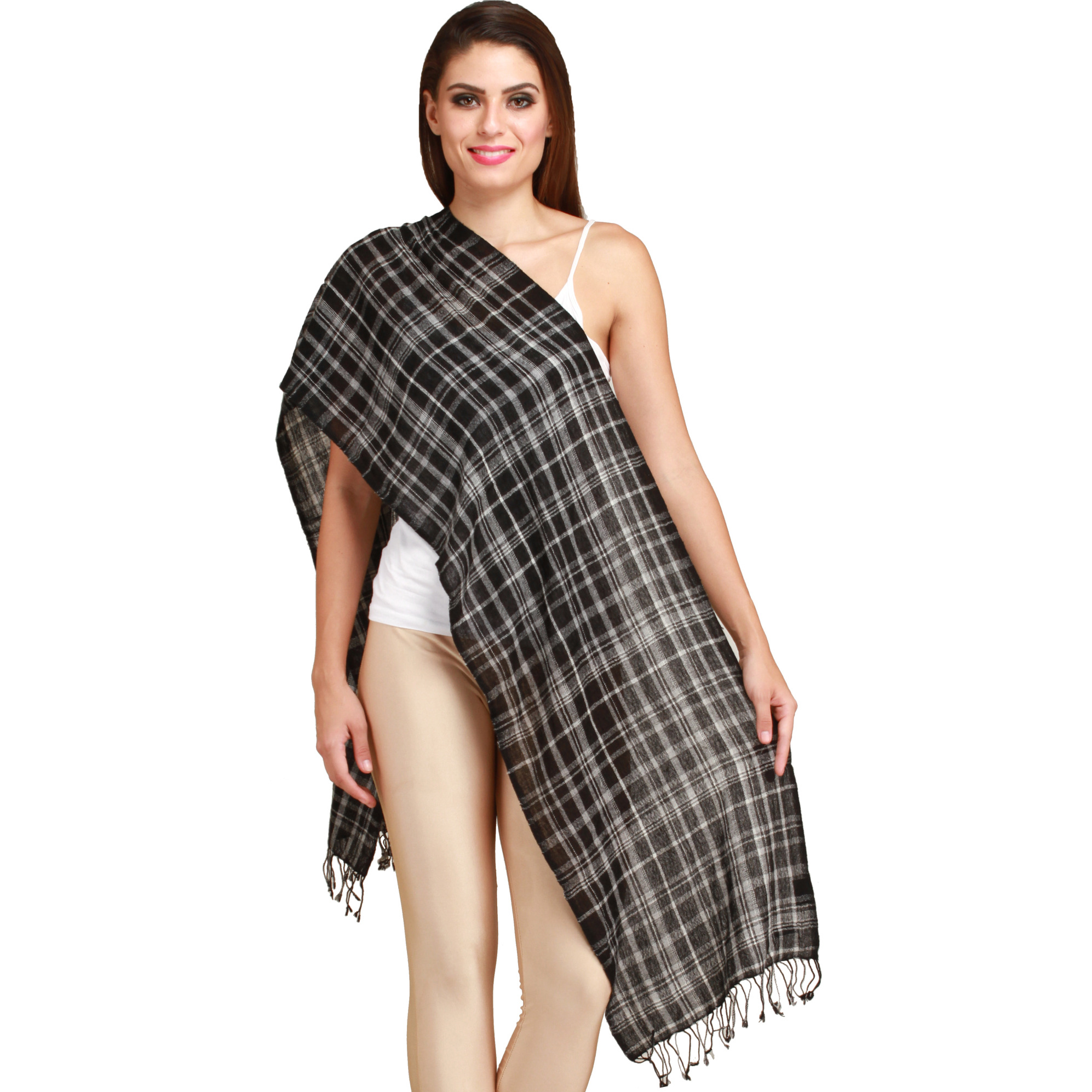 Jet-Black Cashmere Scarf from Nepal with Woven Checks