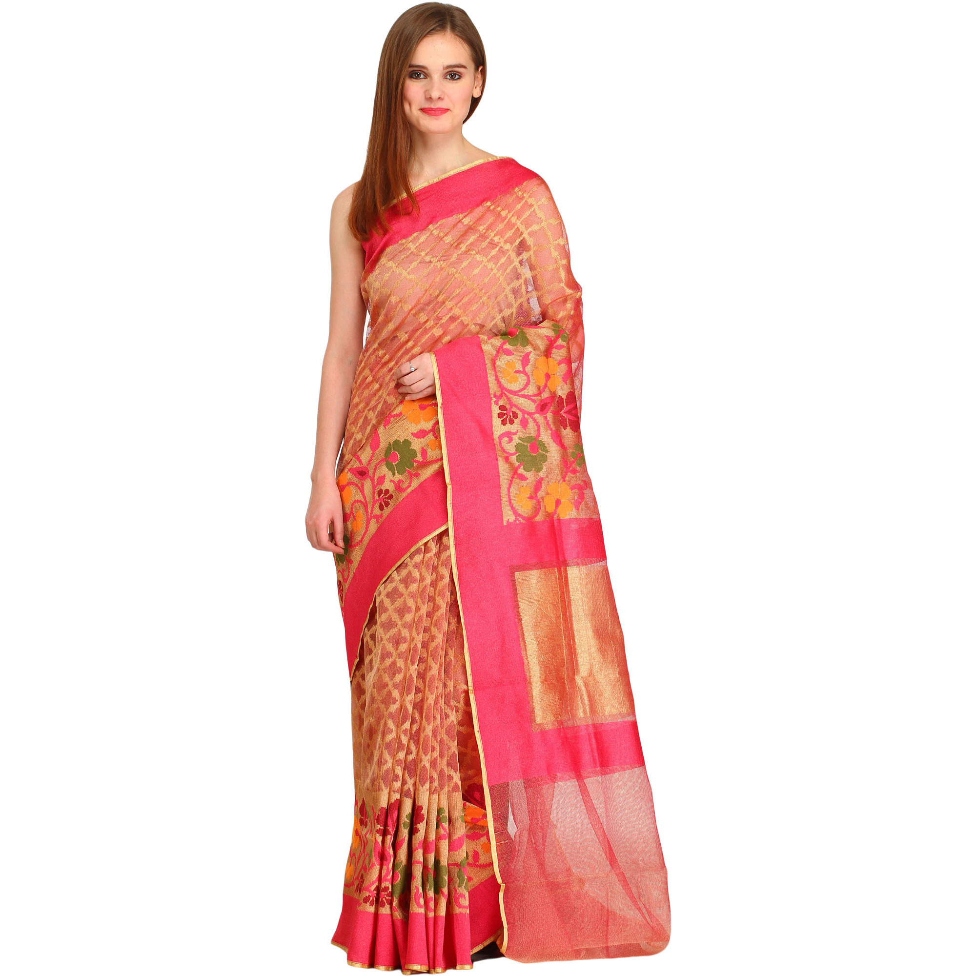 Golden and Pink Wedding Tissue Sari from Banaras with Woven Flowers on Border