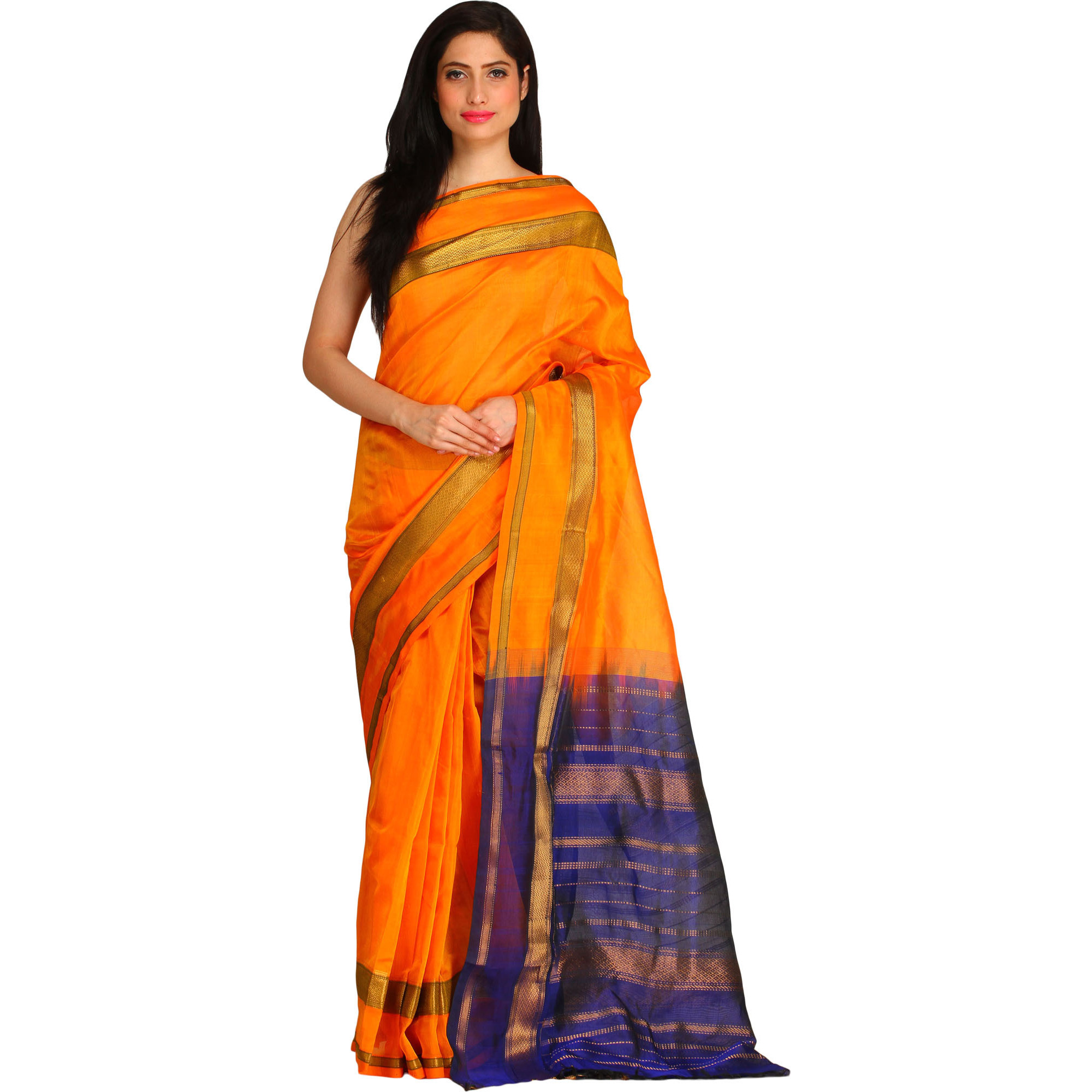 Bright-Marigold and Blue Sari from Chennai with Zari Weave on Pallu