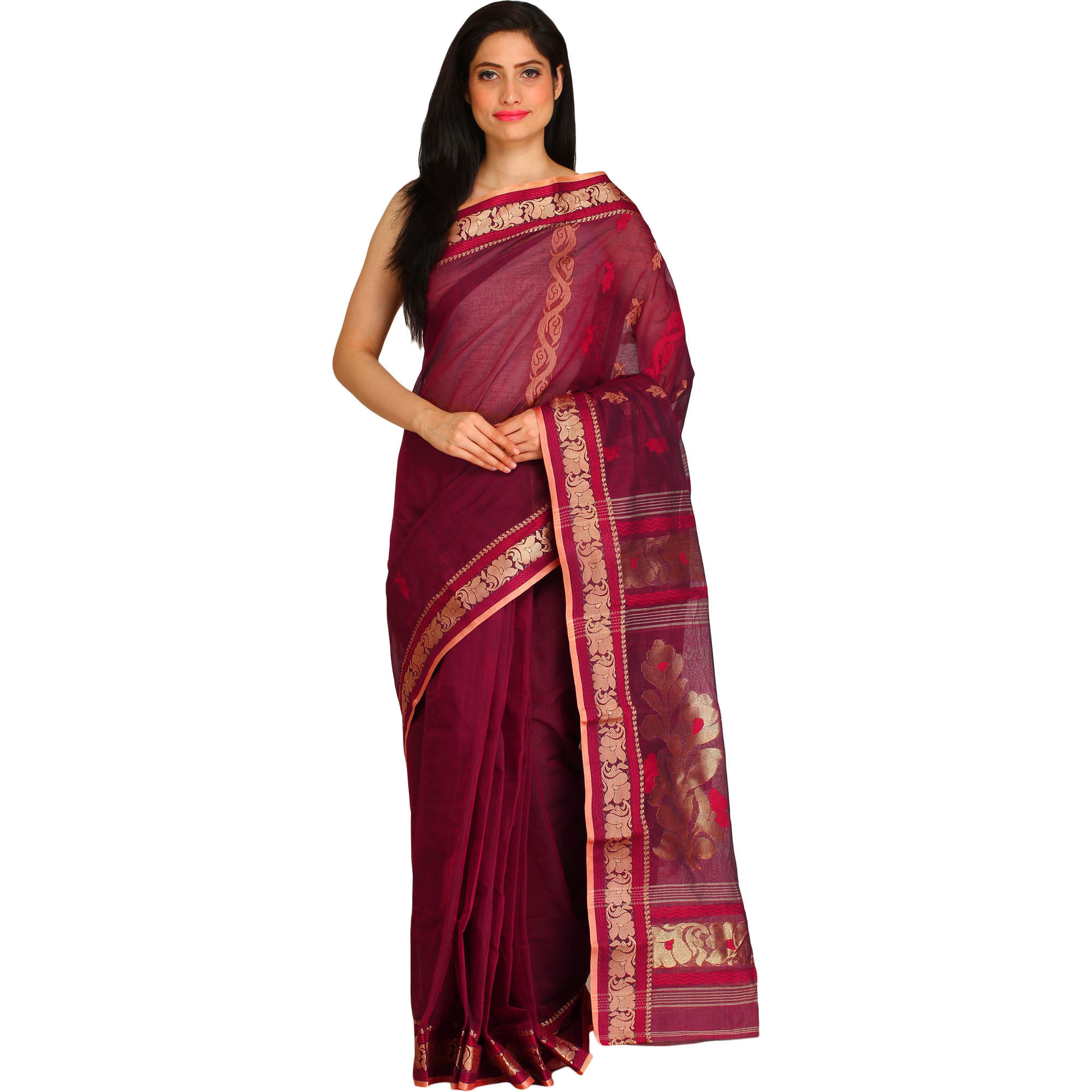 Mauve-Wine Purbasthali Tangail Sari from Bengal with Floral Woven Border and Pallu
