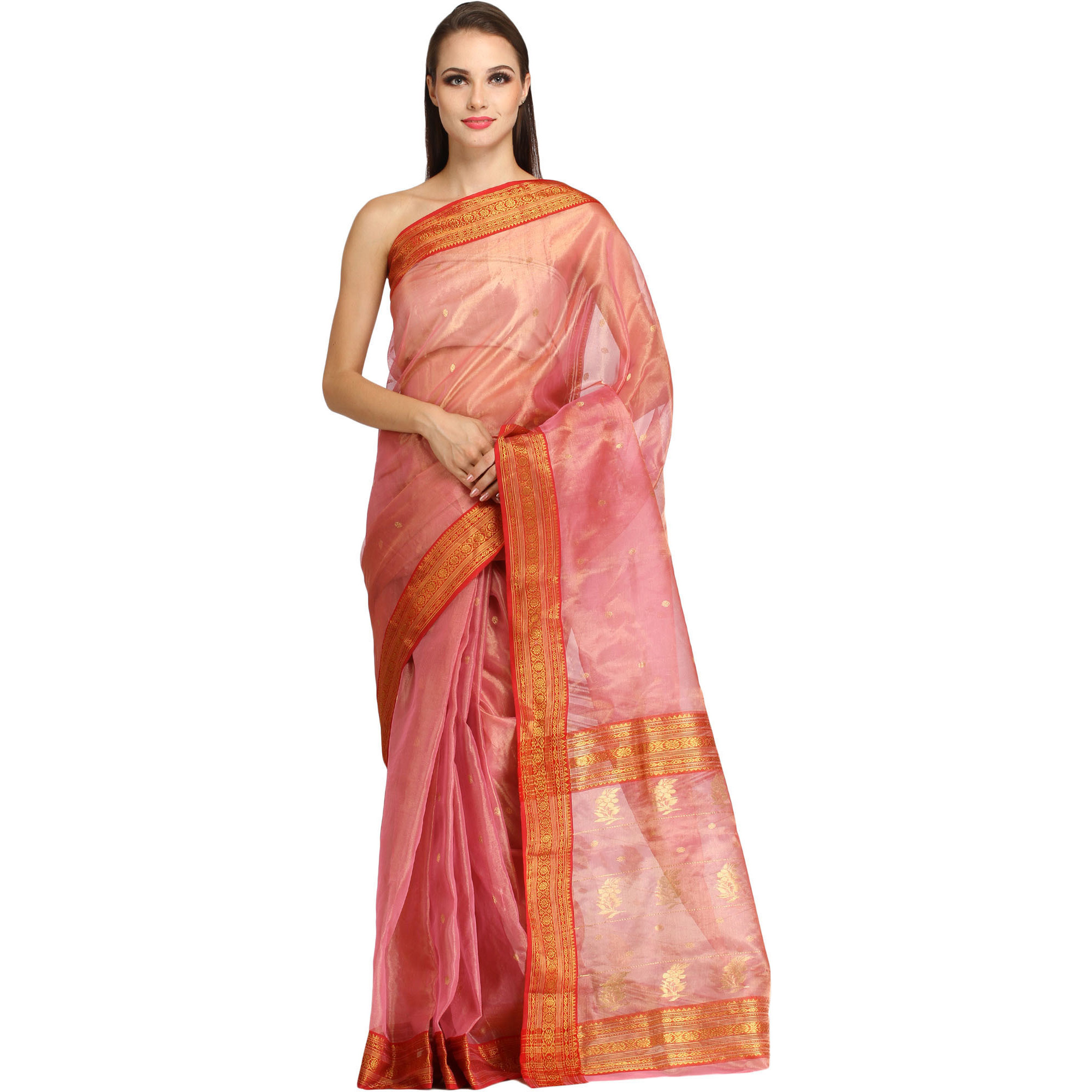 Strawberry-Ice Chanderi Tissue Sari with Woven Small Bootis and Brocaded Border