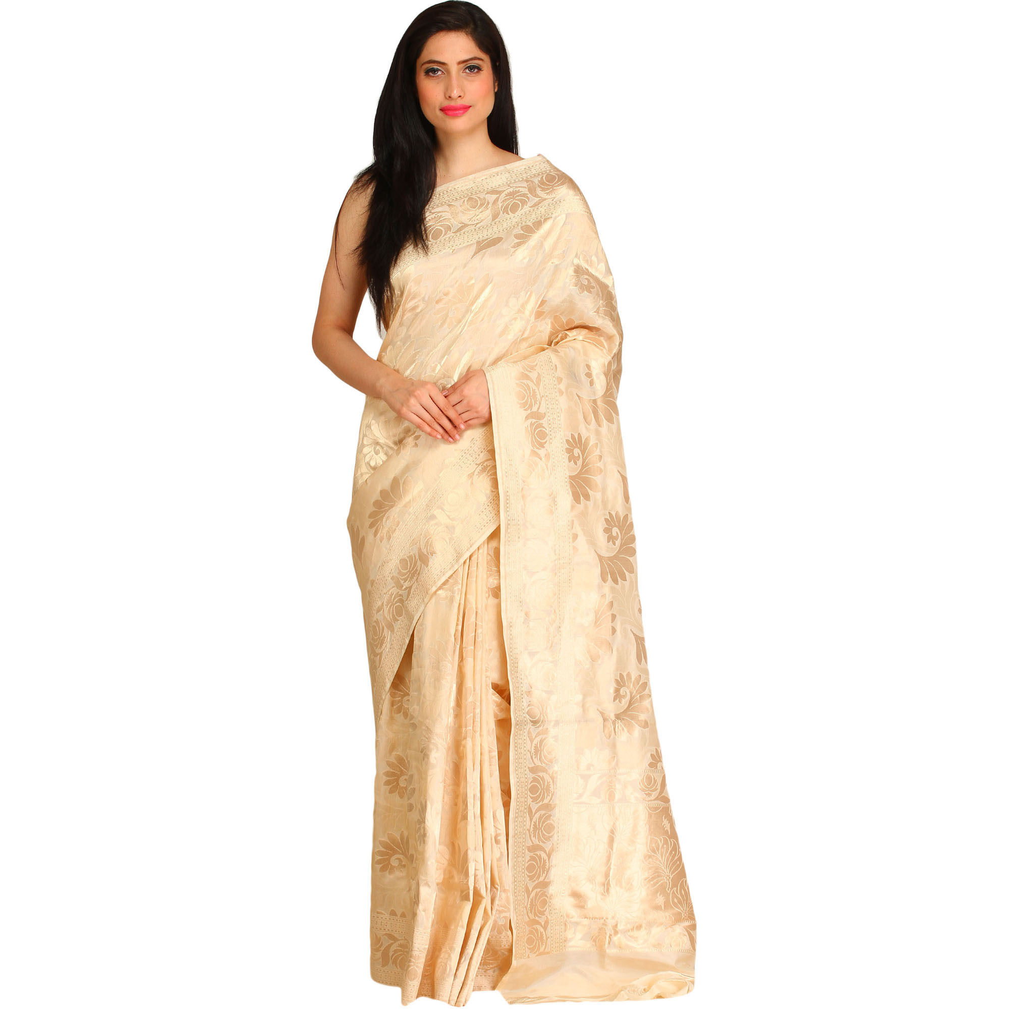 Pearled-Ivory Wedding Sari from Banaras with Woven Golden Flowers All-Over