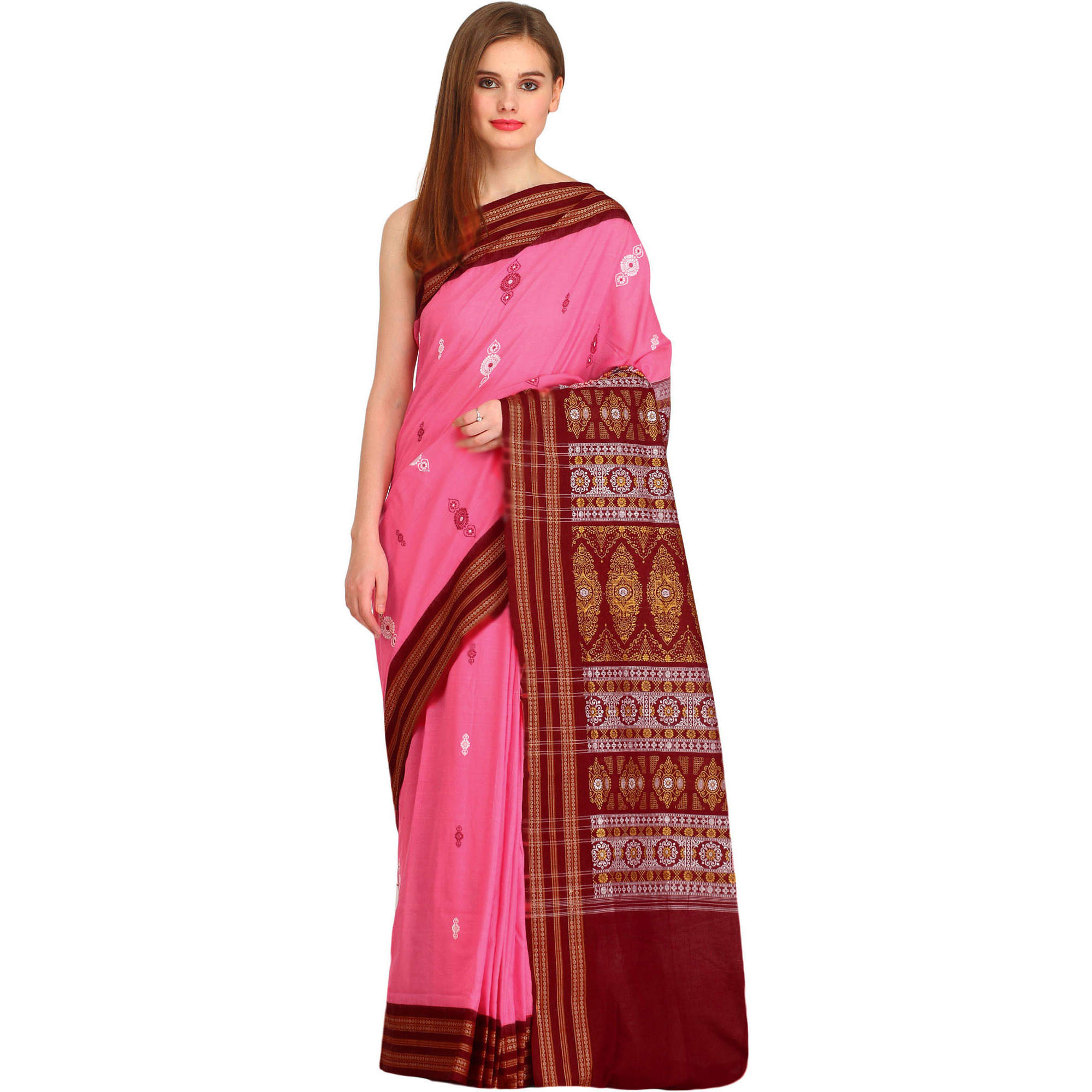 Pink and Maroon Bomkai Sari from Orissa with Rudraksha Border and Floral Weave on Pallu