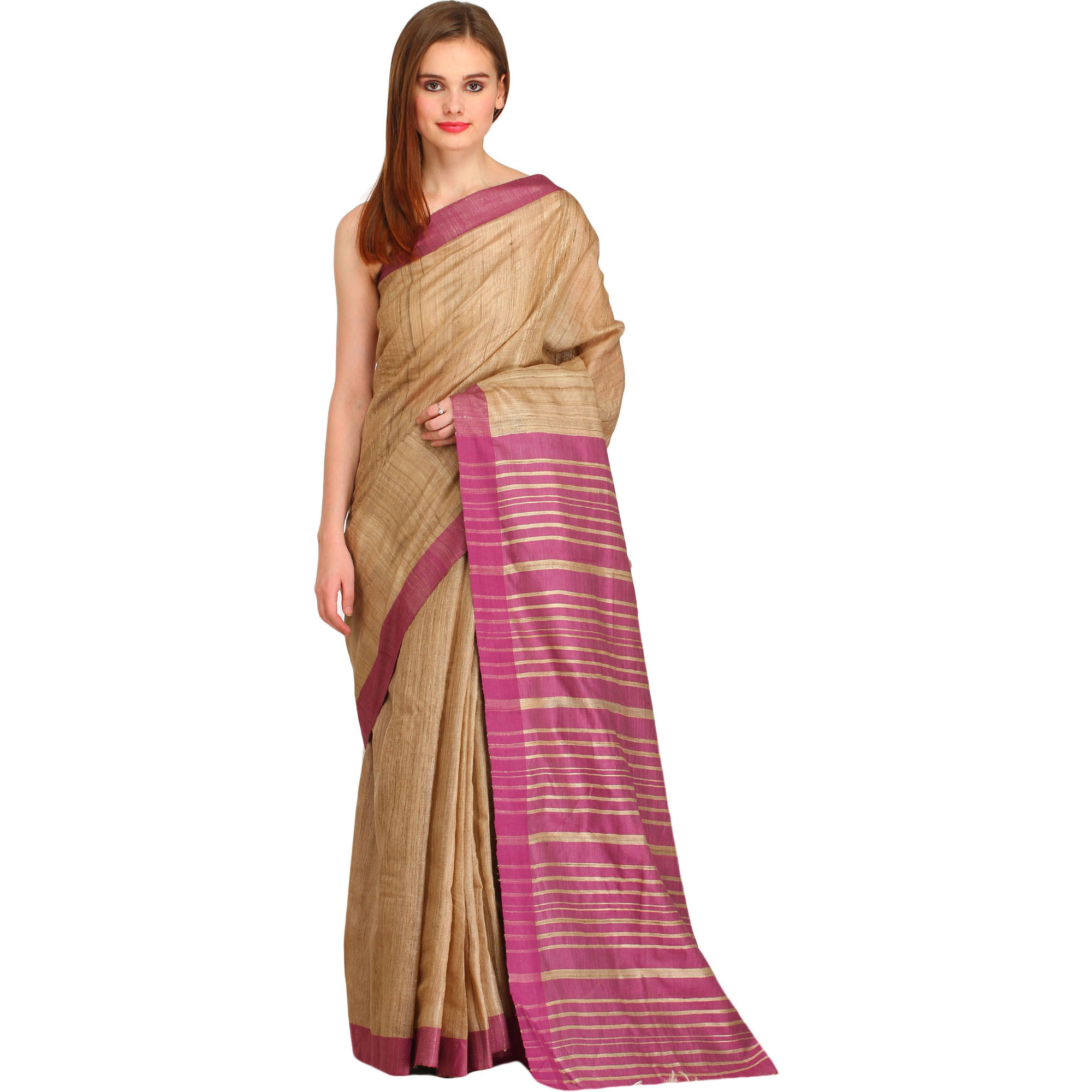 Light-Taupe and Tulipwood Kosa Sari from Bengal with Striped Pallu
