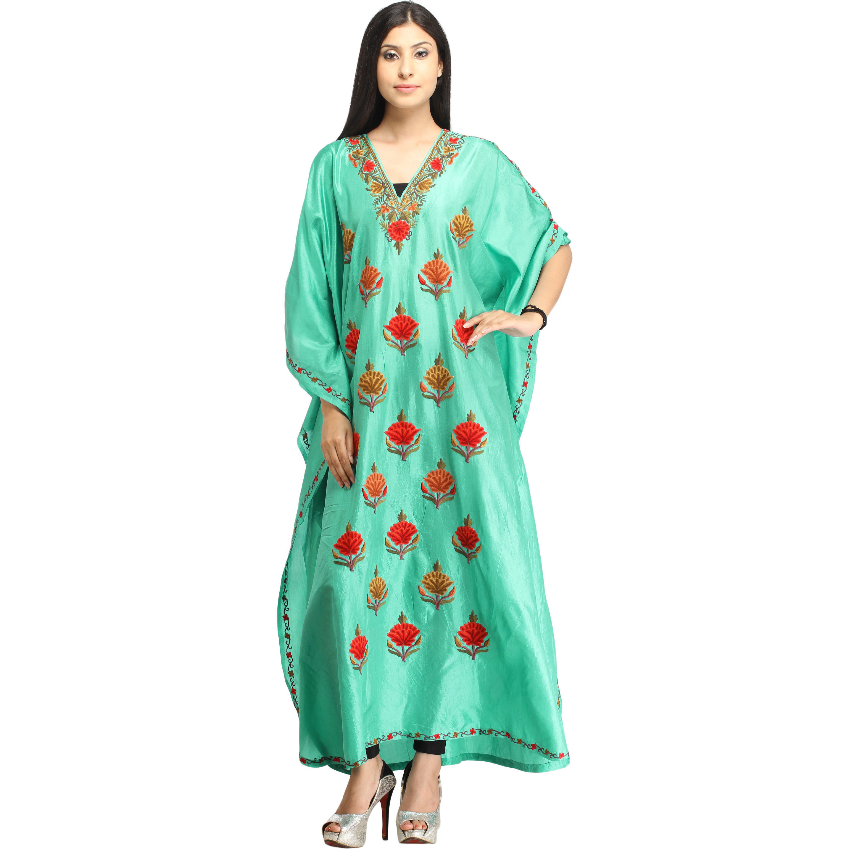 Cockatoo-Green Kaftan from Kashmir with Ari Hand-Embroidered Flowers
