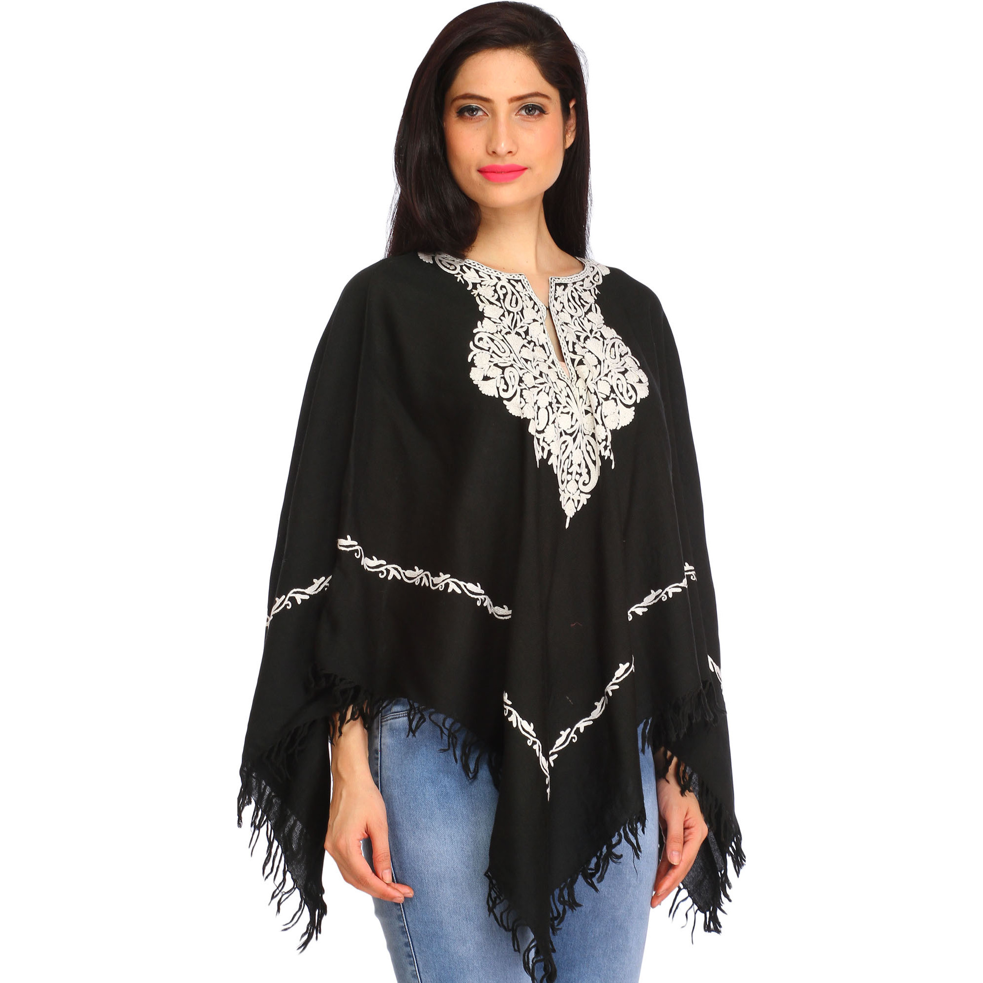 Black and White Poncho from Kashmir with Ari Embroidered Paisleys on Neck