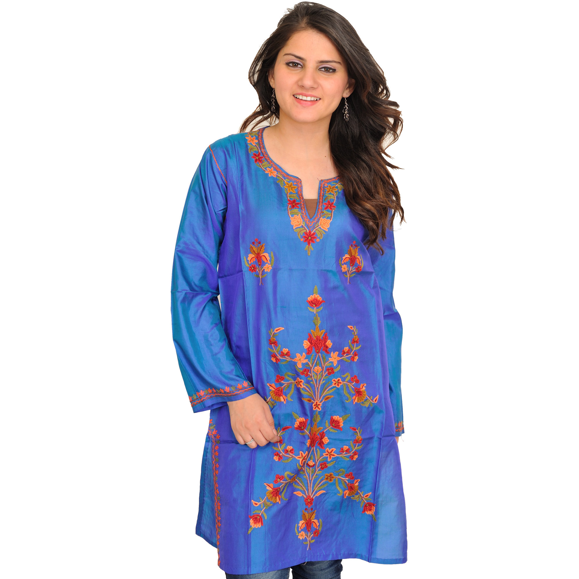 French-Blue Ari Hand-Embroidered Kurti from Kashmir