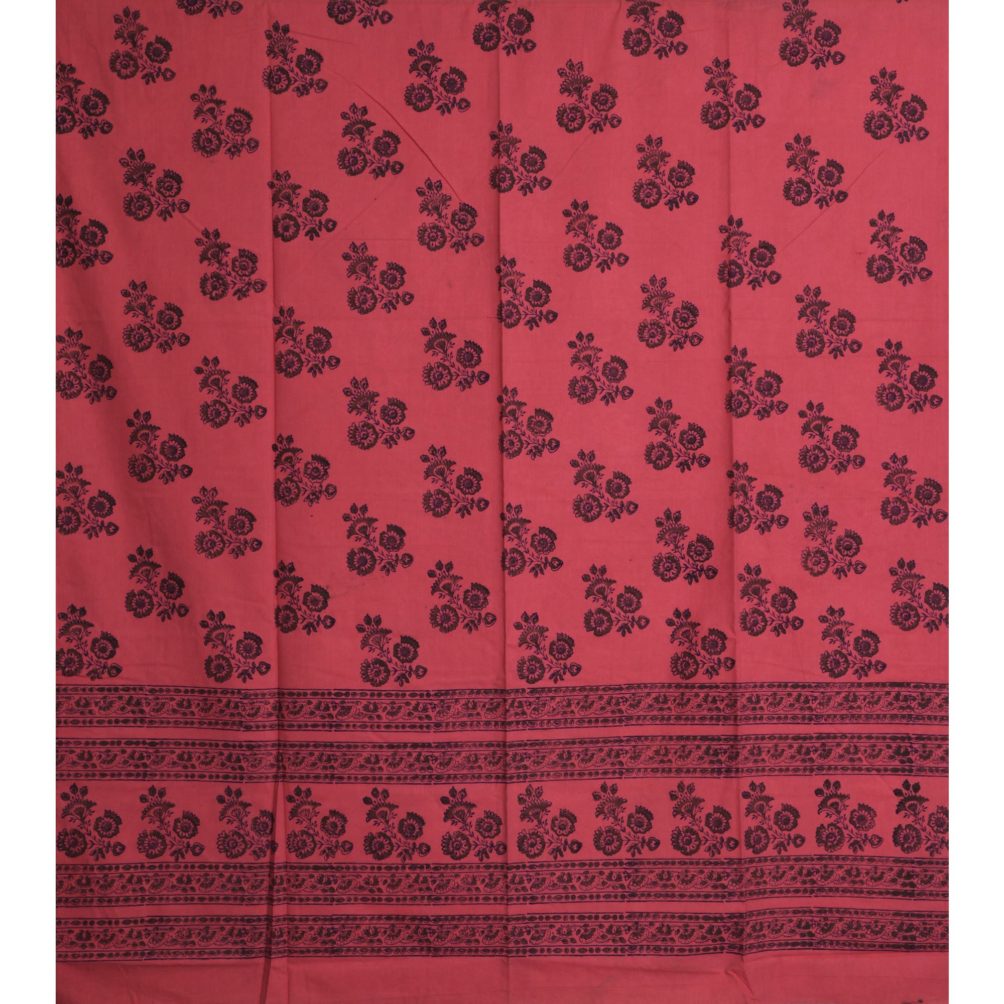Sunkist-Coral Curtain with Printed Flowers All-Over