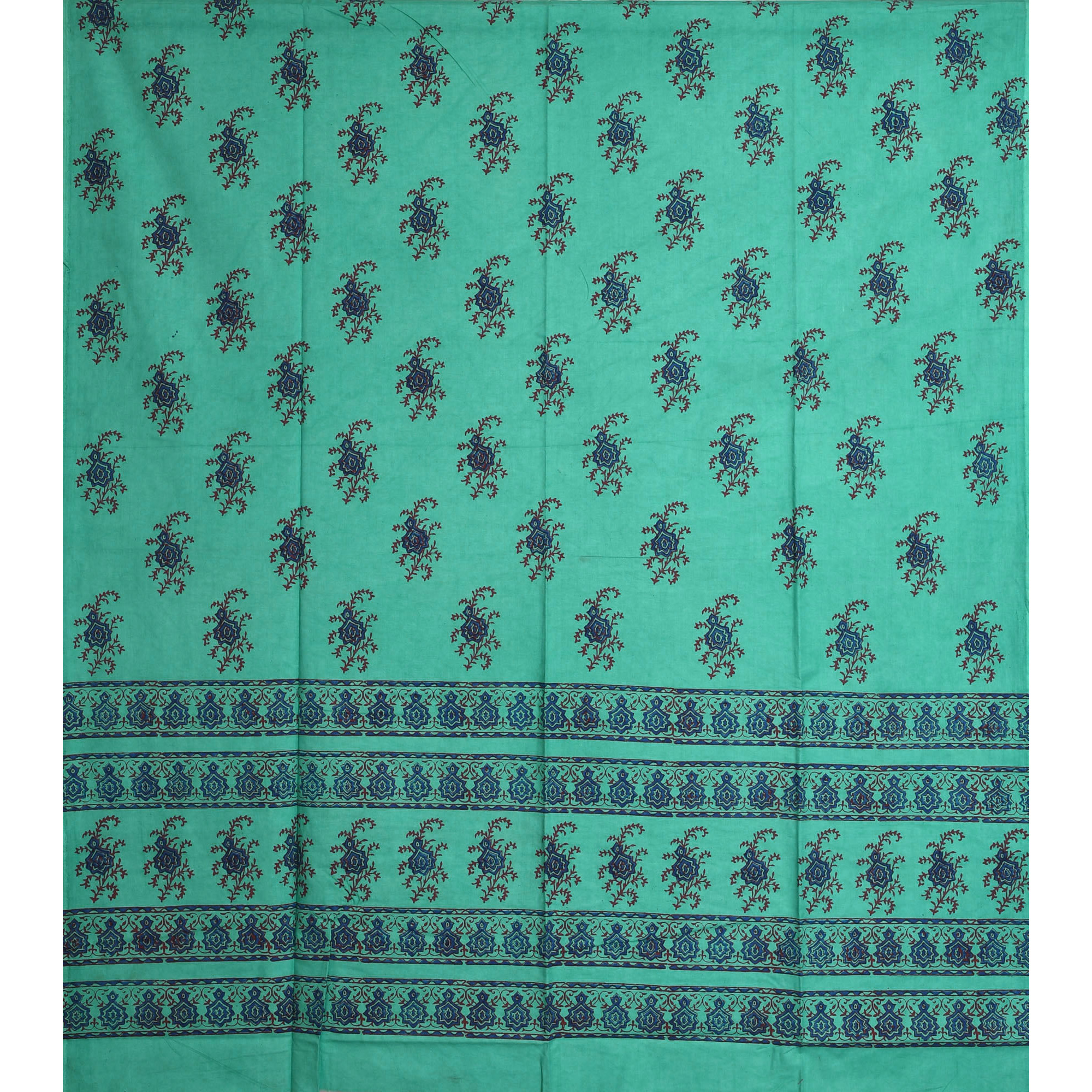 Turquoise-Green Curtain with Printed Floral Motifs