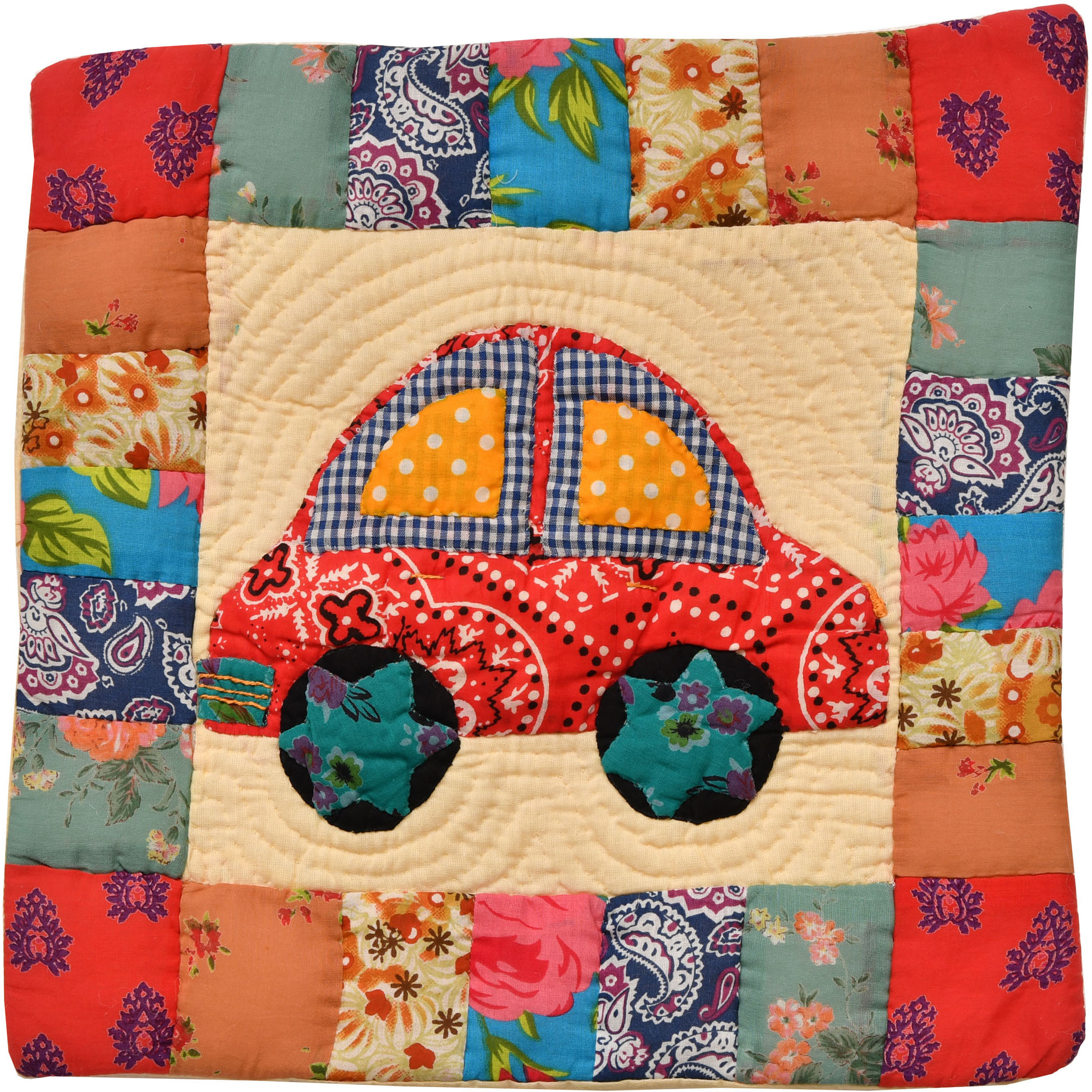 Multicolor Printed Patchwork Cushion Cover from Dehradun with Applique Car