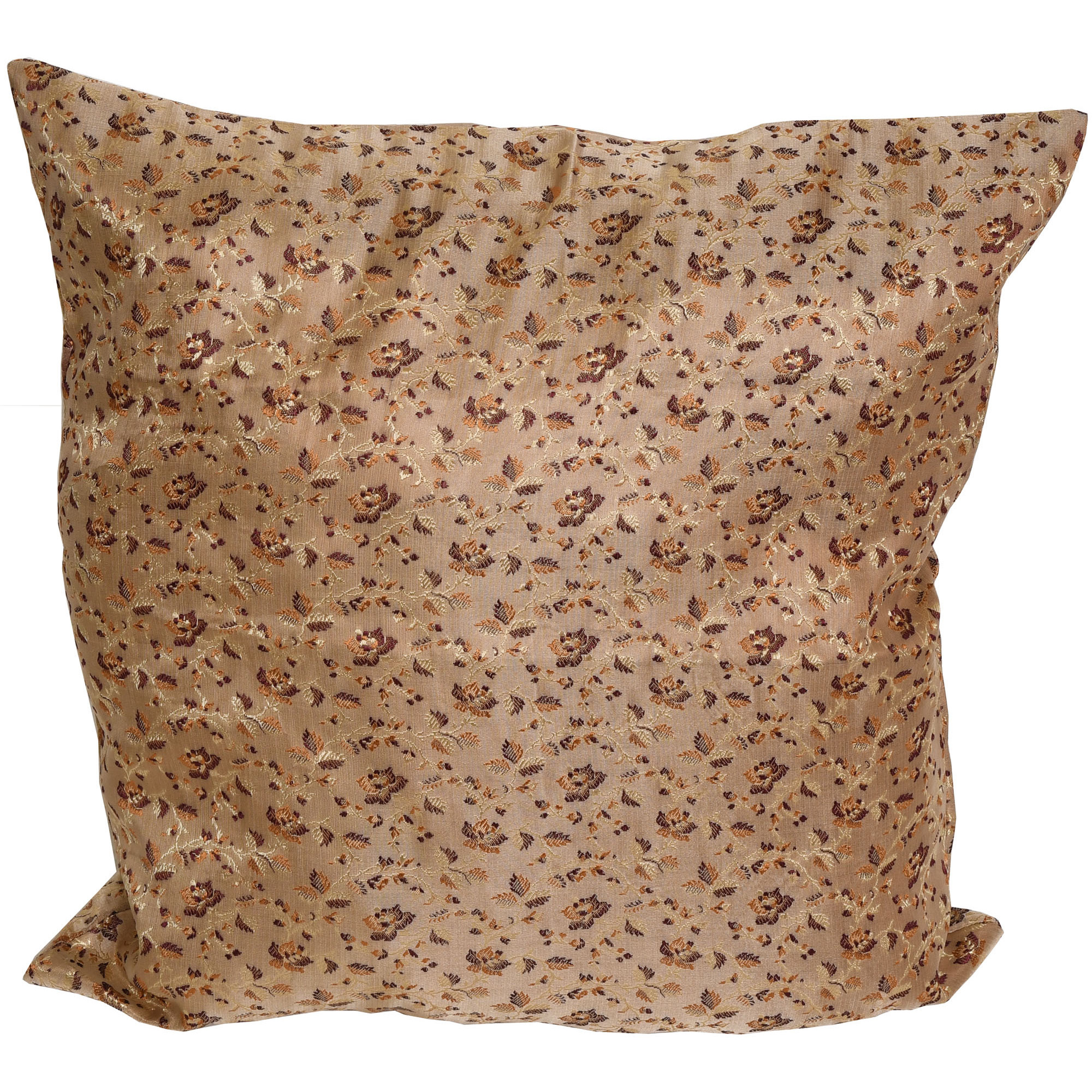 Beige Cushion Cover with Floral Weave All-Over