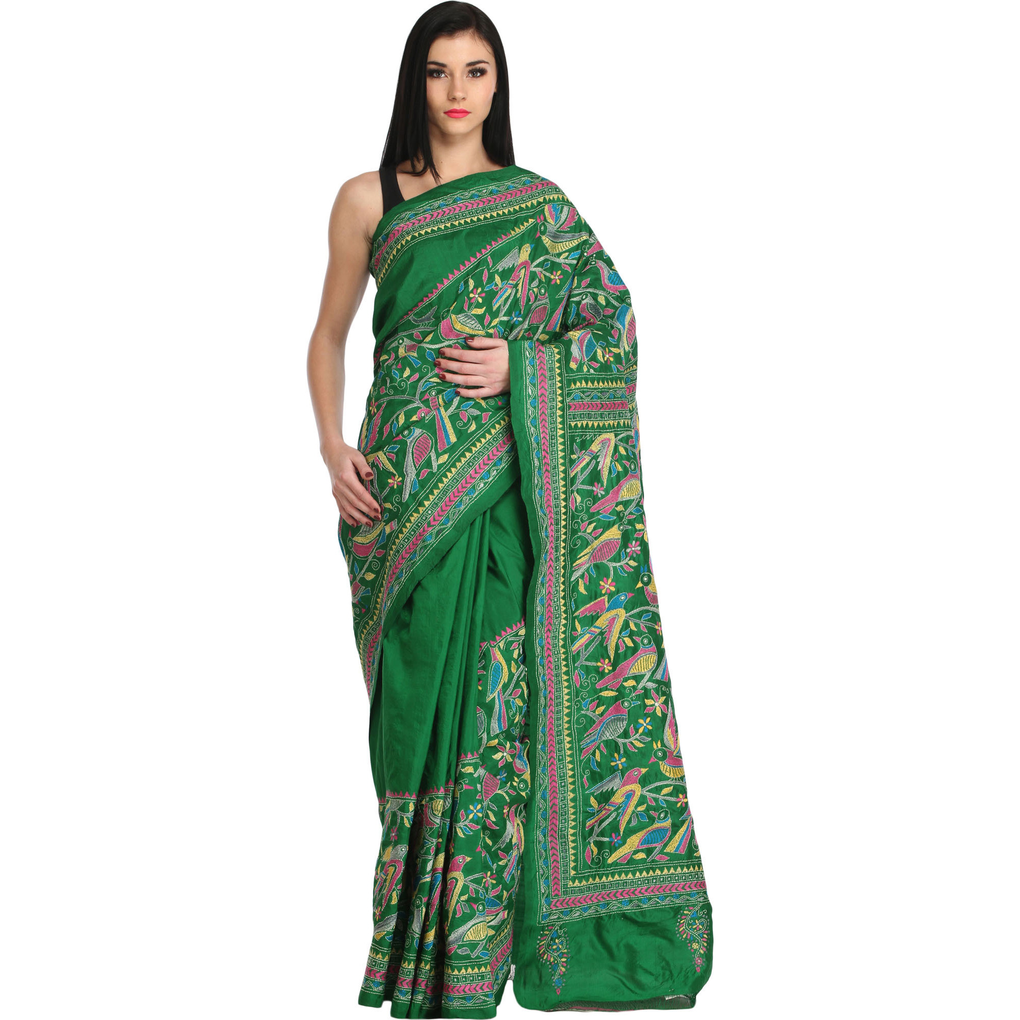Kelly-Green Kantha Sari from Kolkata with Hand-Embroidered Birds