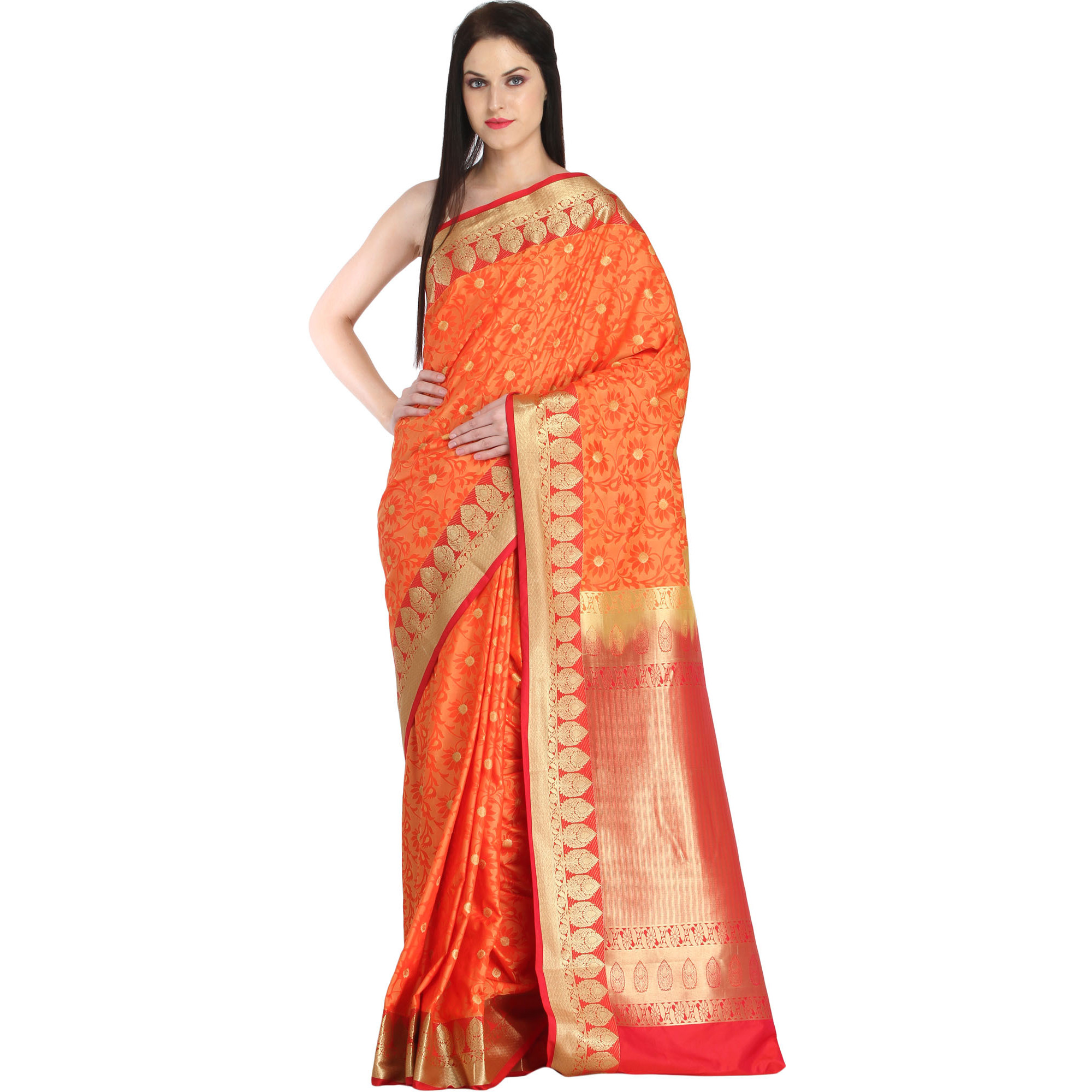 Orange and Red Sari from Bangalore with Woven Flowers and Brocaded Border
