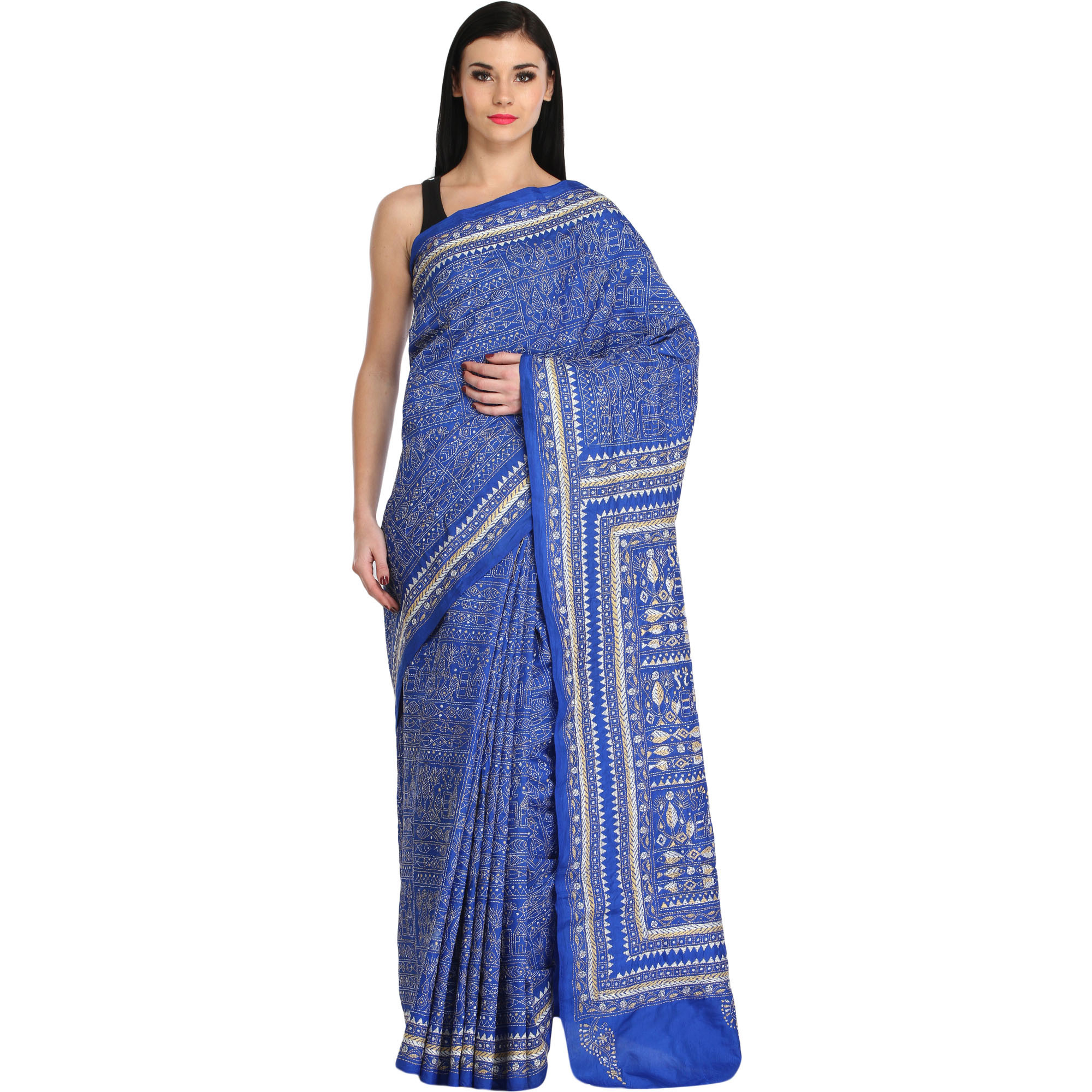Strong-Blue Warli Sari from Kolkata with Dense Kantha-Embroidery by Hand