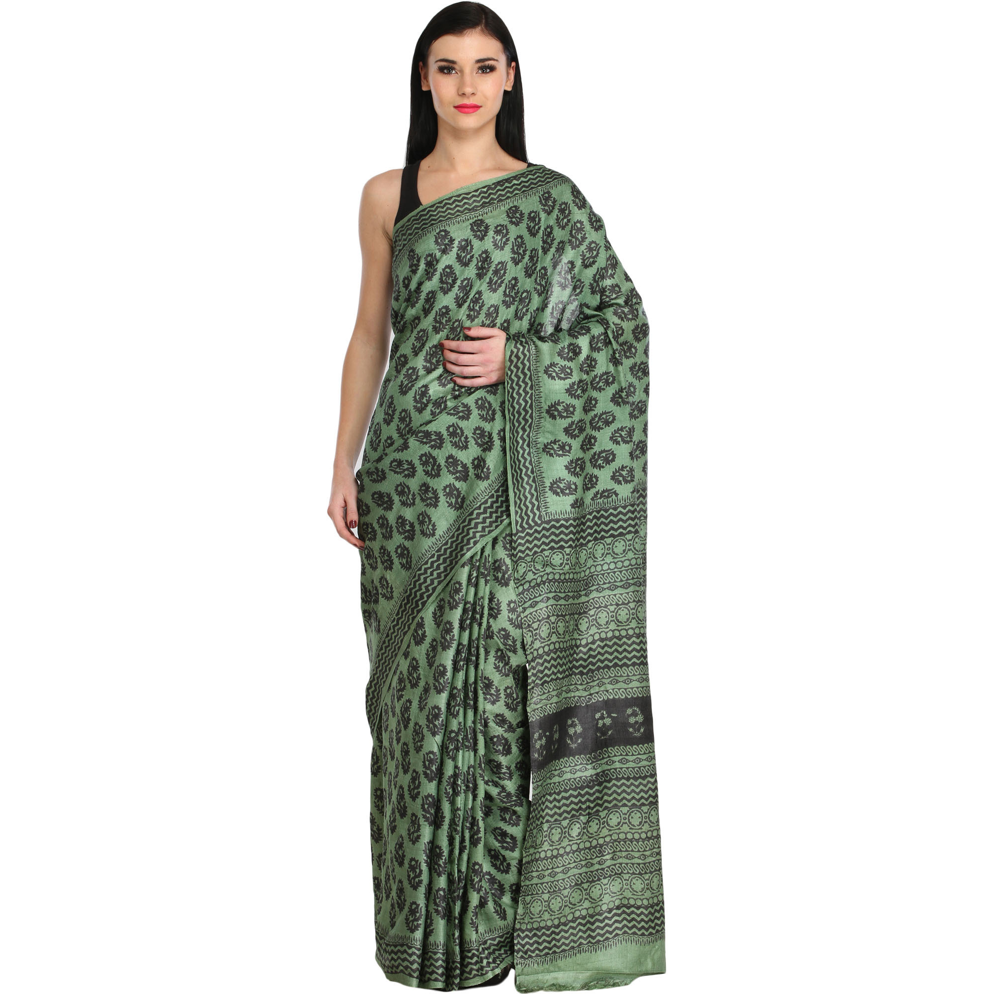 Mineral-Green Sari with Block Printed Bootis and Zigzag Border