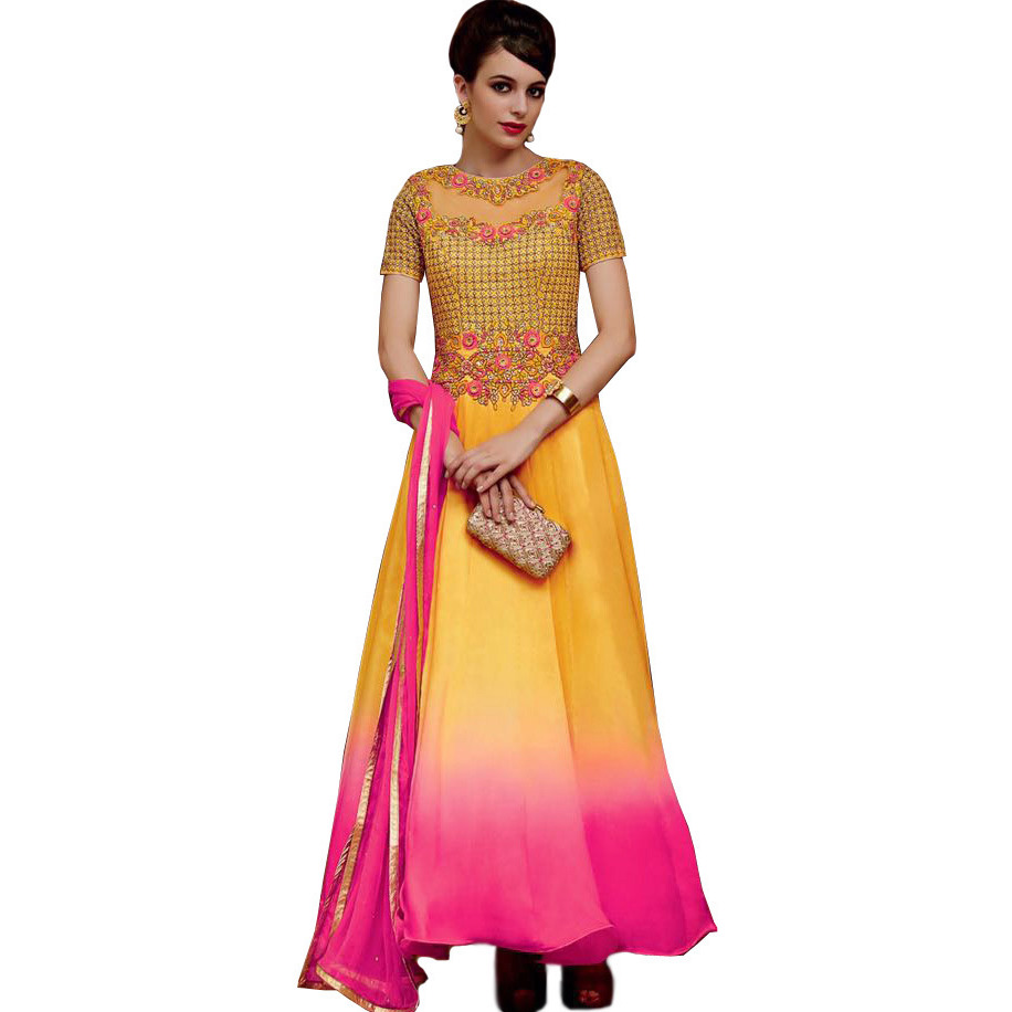 Yellow and Pink Double-Shaded Designer Anarkali Suit with Floral-Embroidery and Crystals