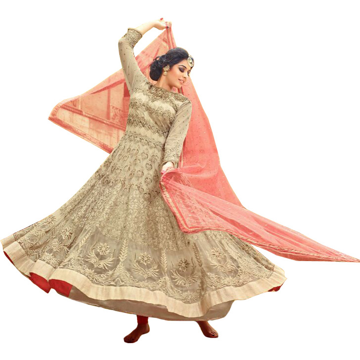 CrC(me-Brulee and Pink Wedding Heavy Anarkali Suit with Embroidery All-Over and Sequins