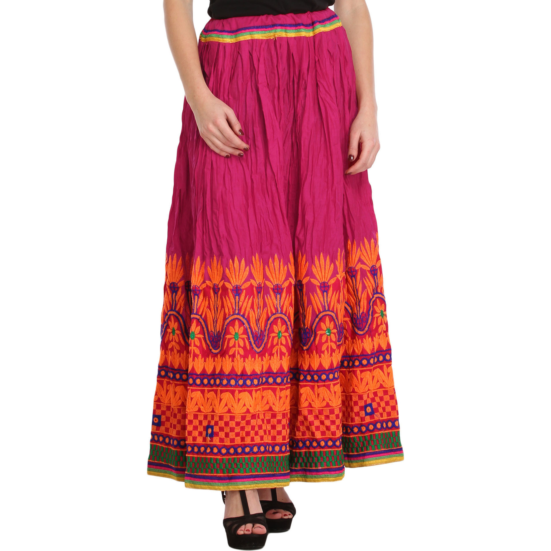 Fuchsia-Rose Ghagra Skirt from Gujarat with Embroidery on Border