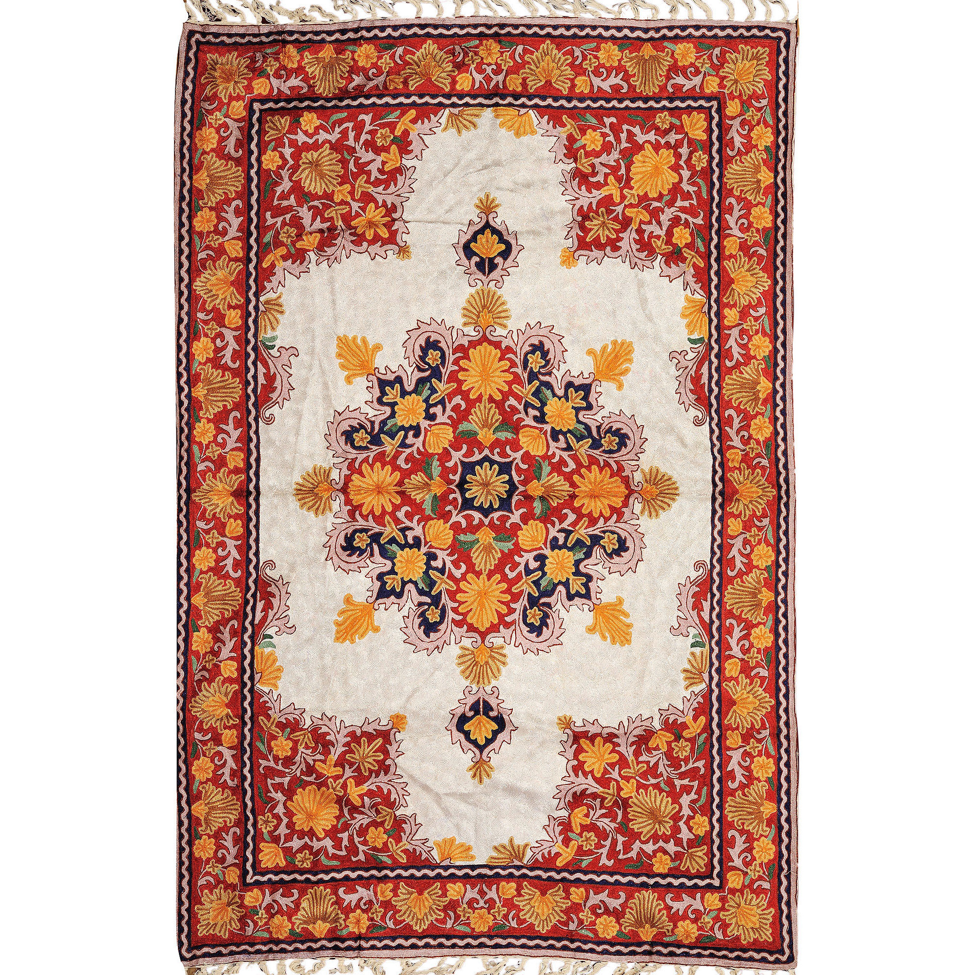 Ivory and Red Floral-Embroidered Asana Mat from Kashmir