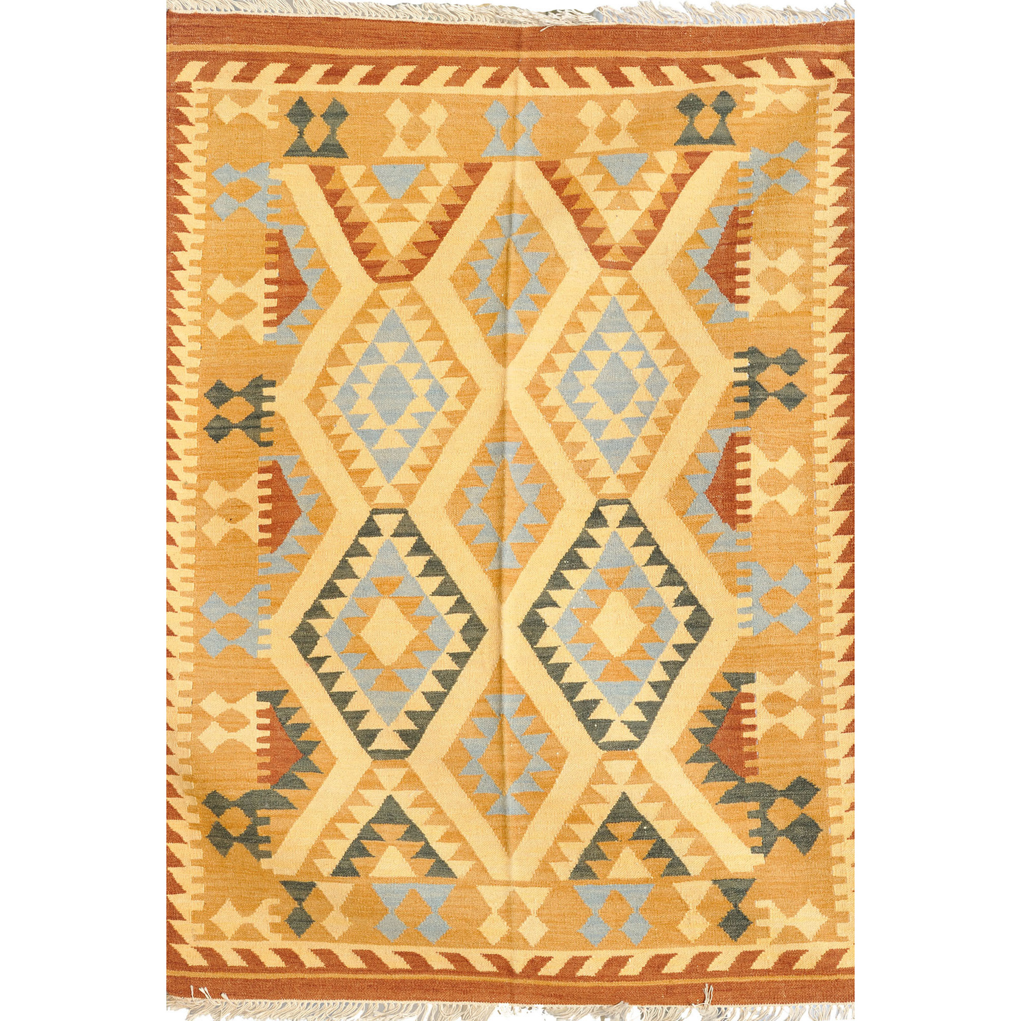 Beige Handloom Dhurrie from Sitapur with Kilim Motifs