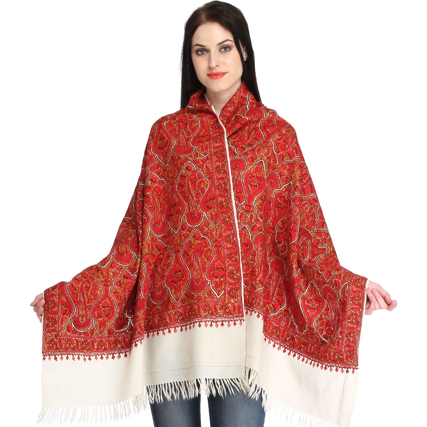 Ivory and Red Kashmiri Stole with Ari Hand-Embroidery All-Over