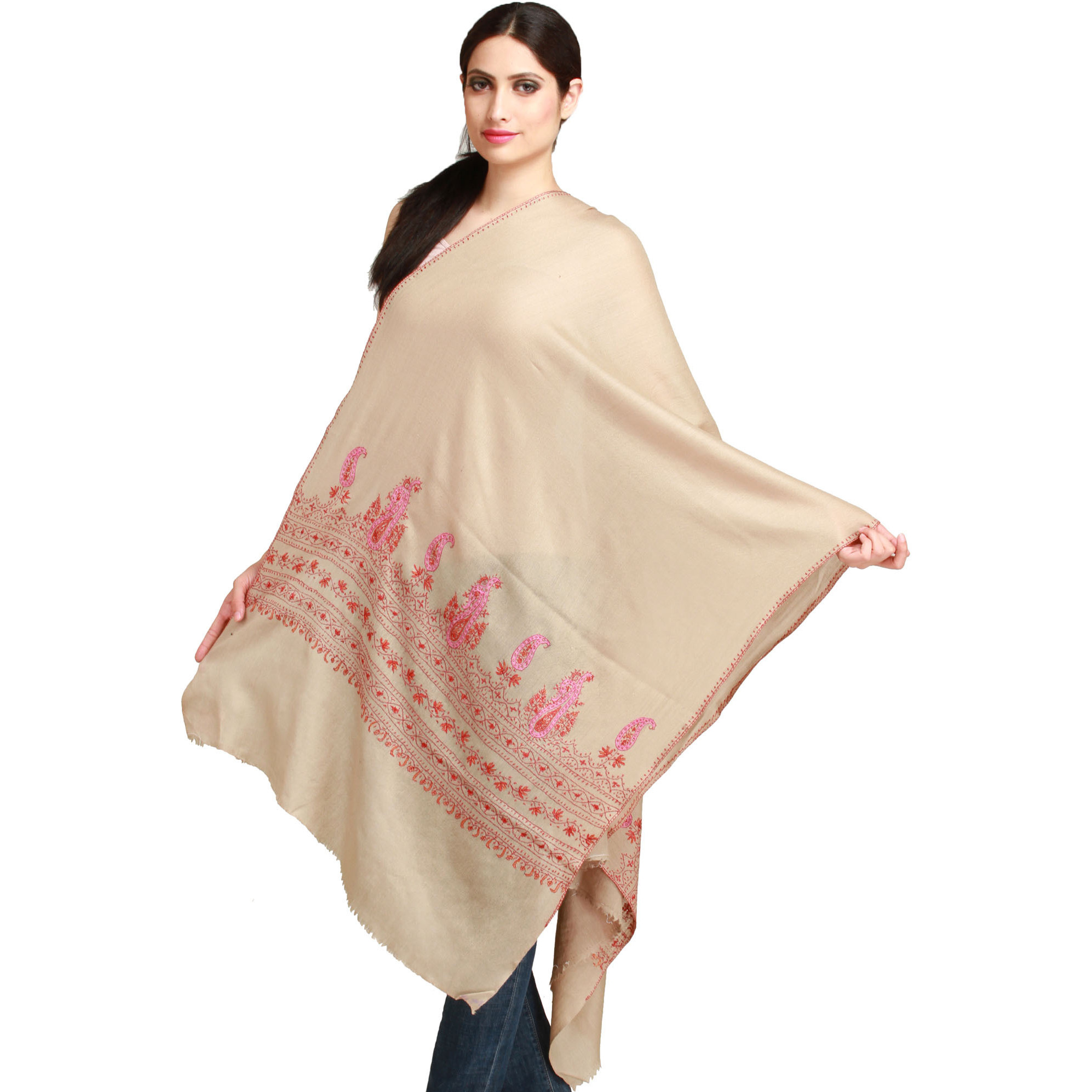 Oyster-Gray Stole from Kashmir with Sozni Hand-Embroidery on Border