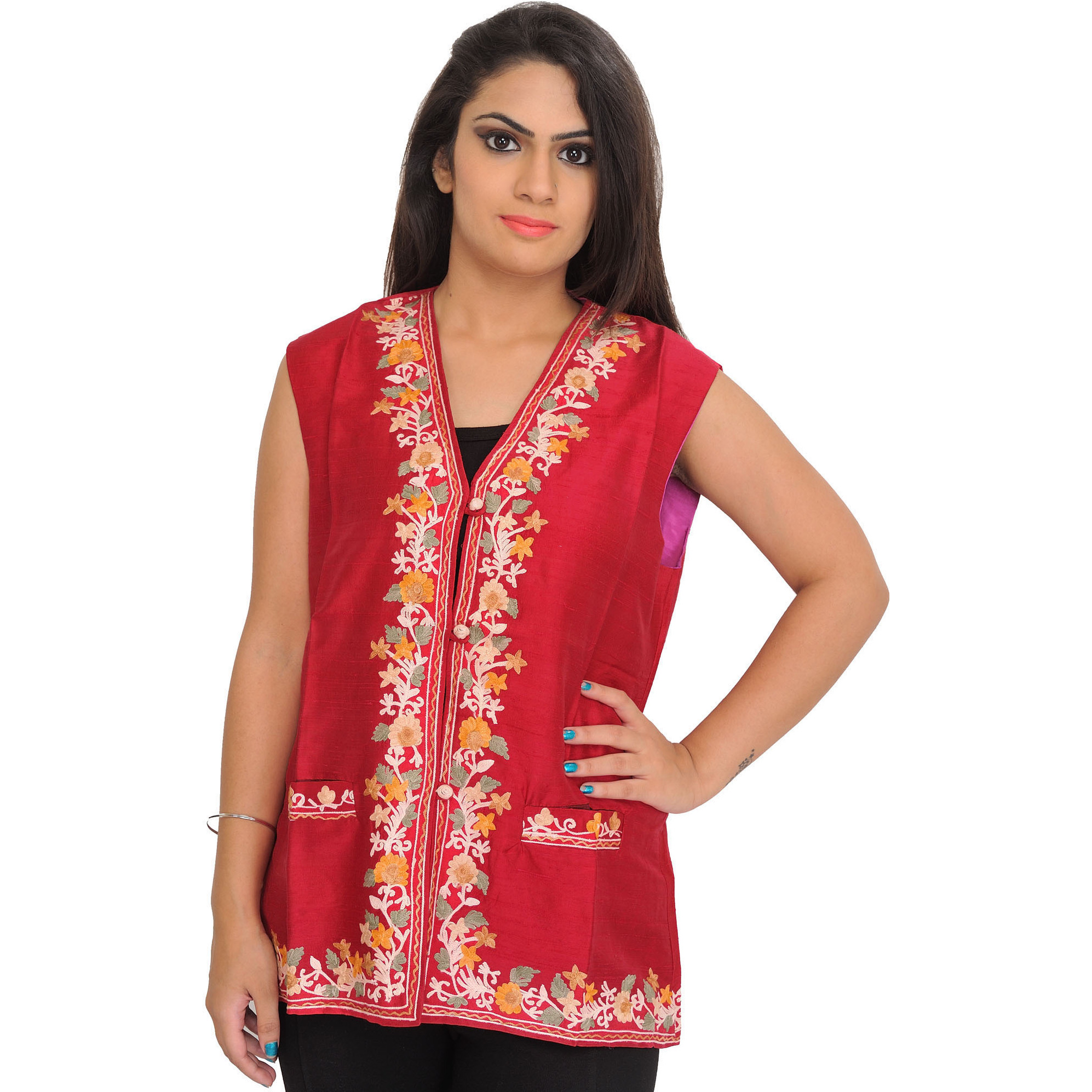 Claret-Red Waistcoat from Kashmir with Ari Hand-Embroidered Flowers on Border