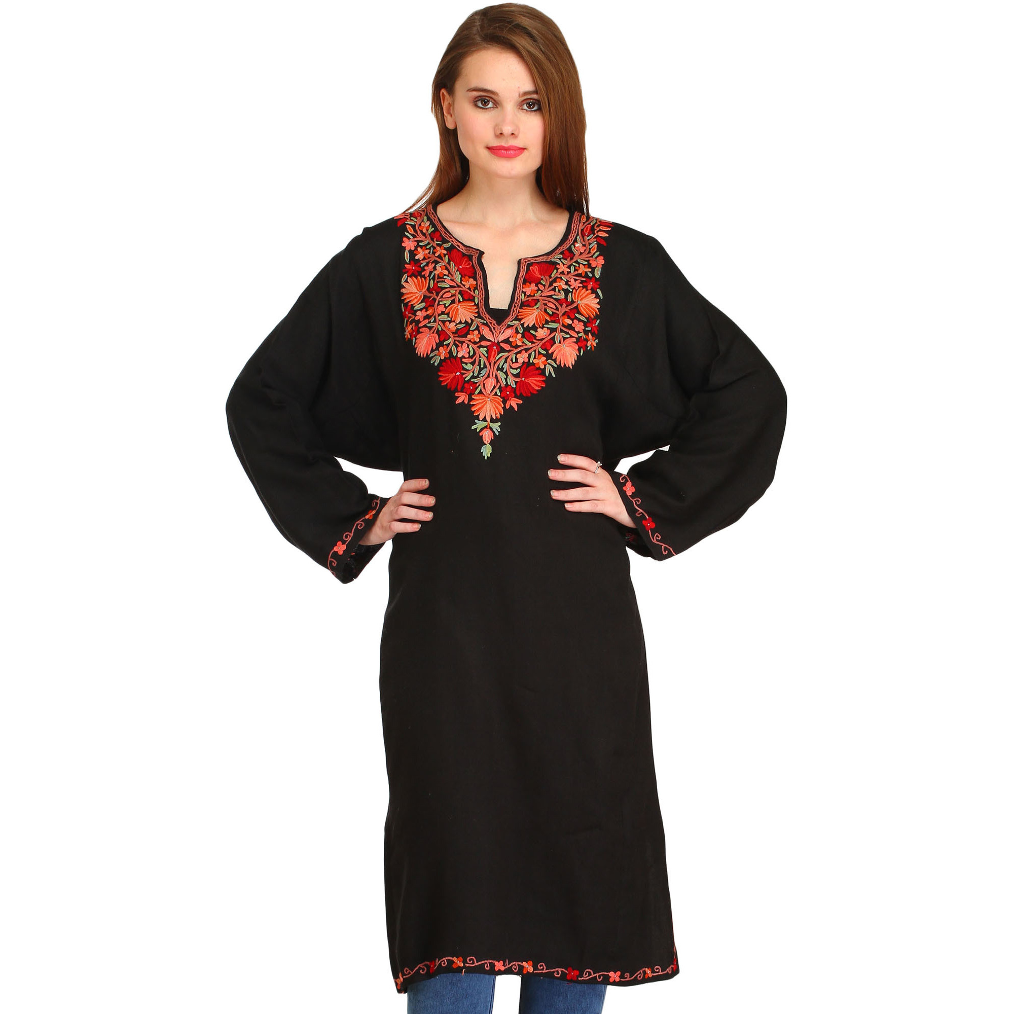 Caviar-Black Phiran from Kashmir with Ari Hand-Embroidery on Neck