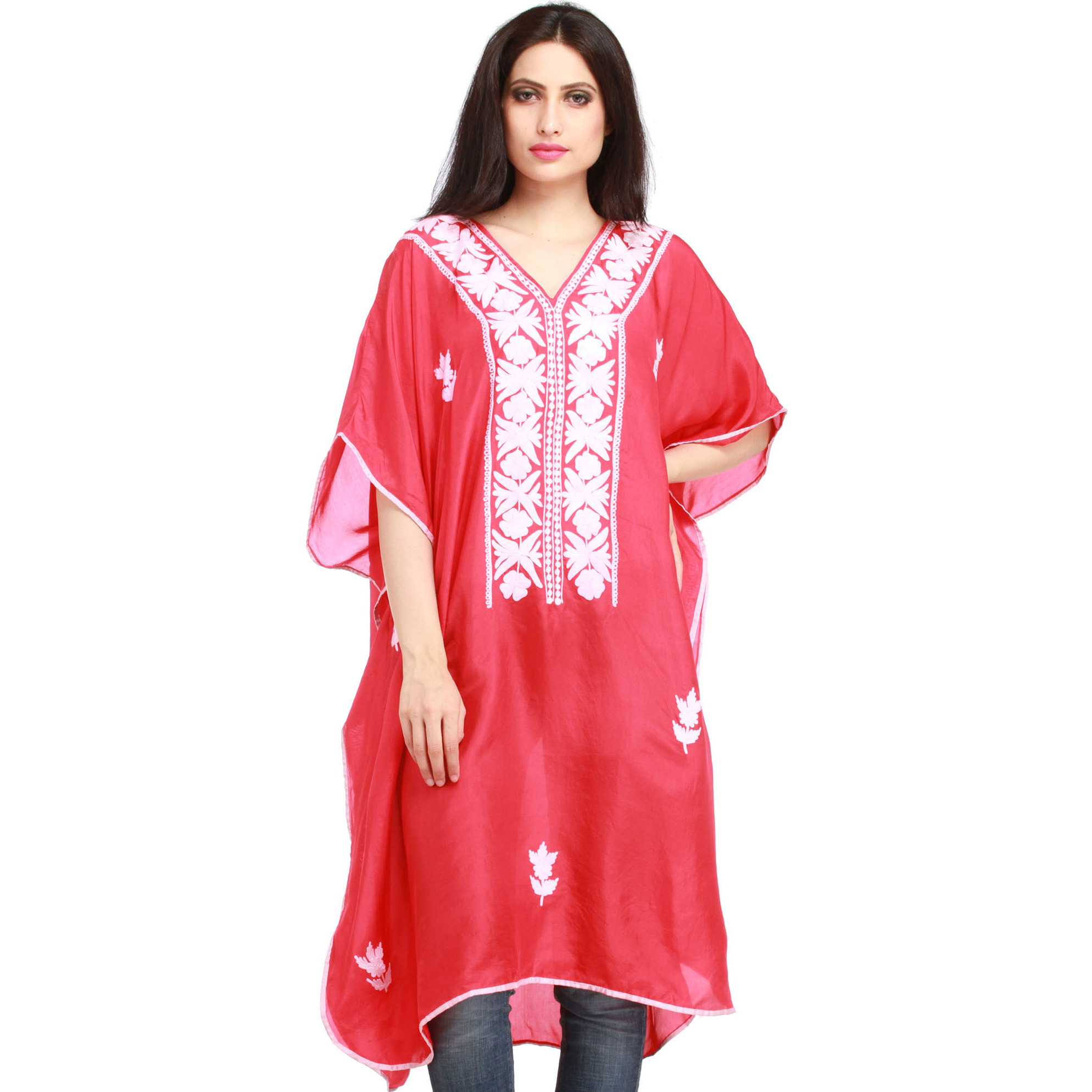 Virtual-Pink Ari Embroidered Short Kaftan from Kashmir