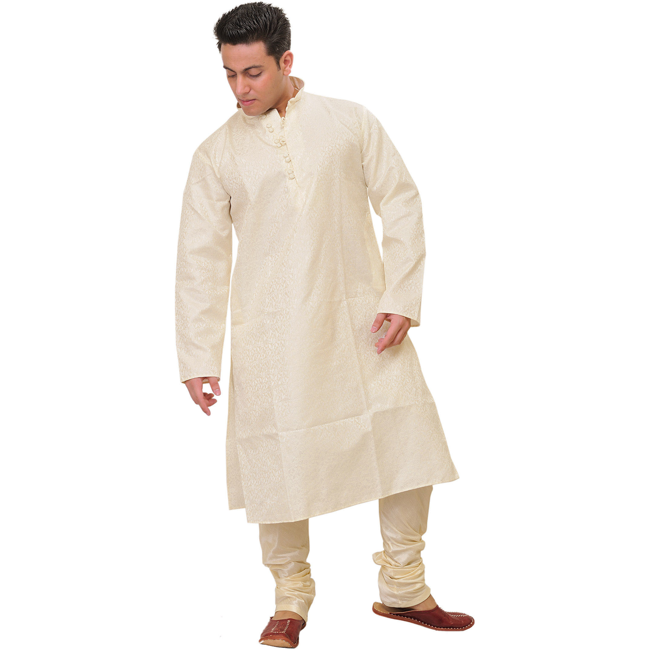 Ivory Kurta Pajama Set with Floral Jacquard Weave in Self