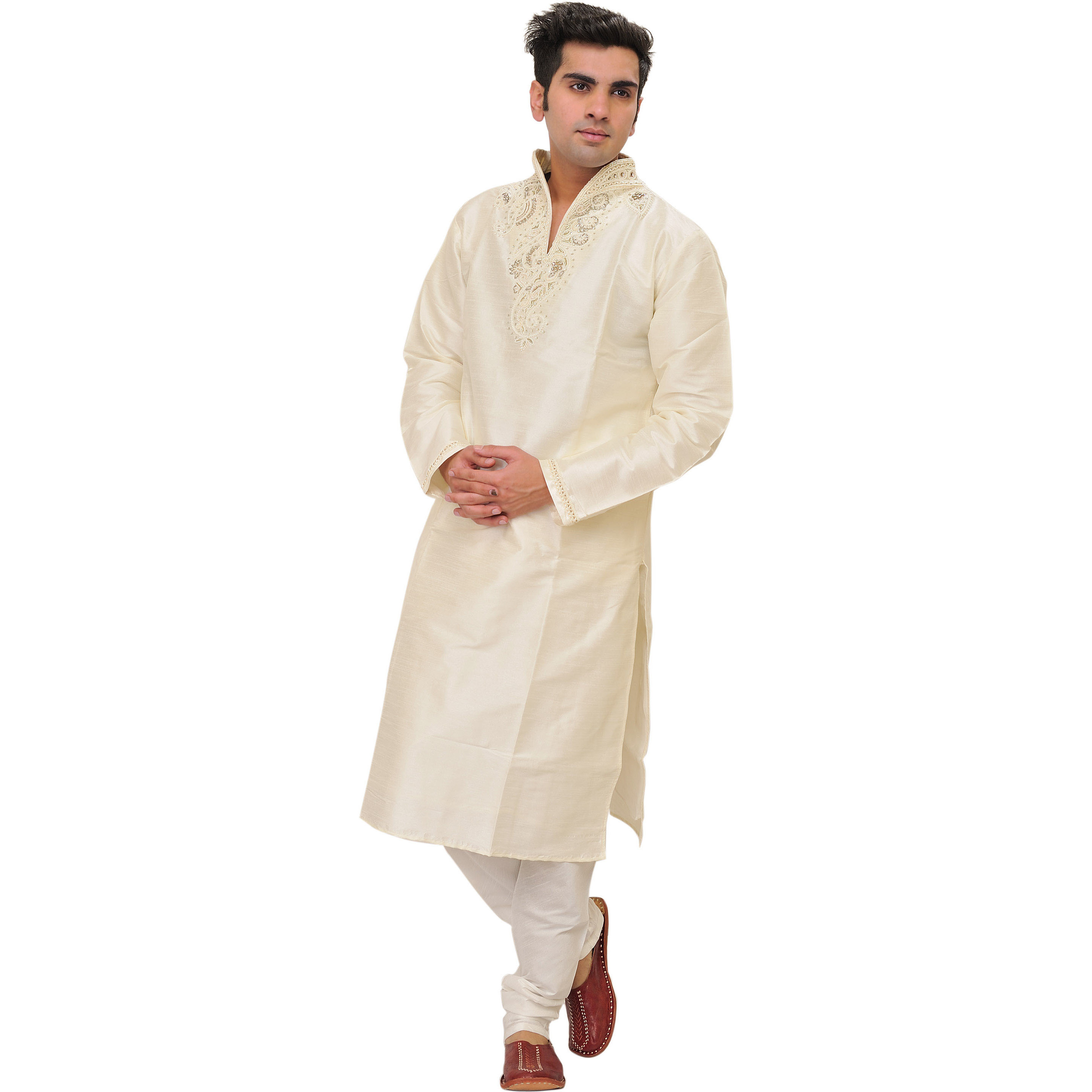 Ivory Wedding Kurta Pajama Set with Hand-Embroidered Pearls on Neck