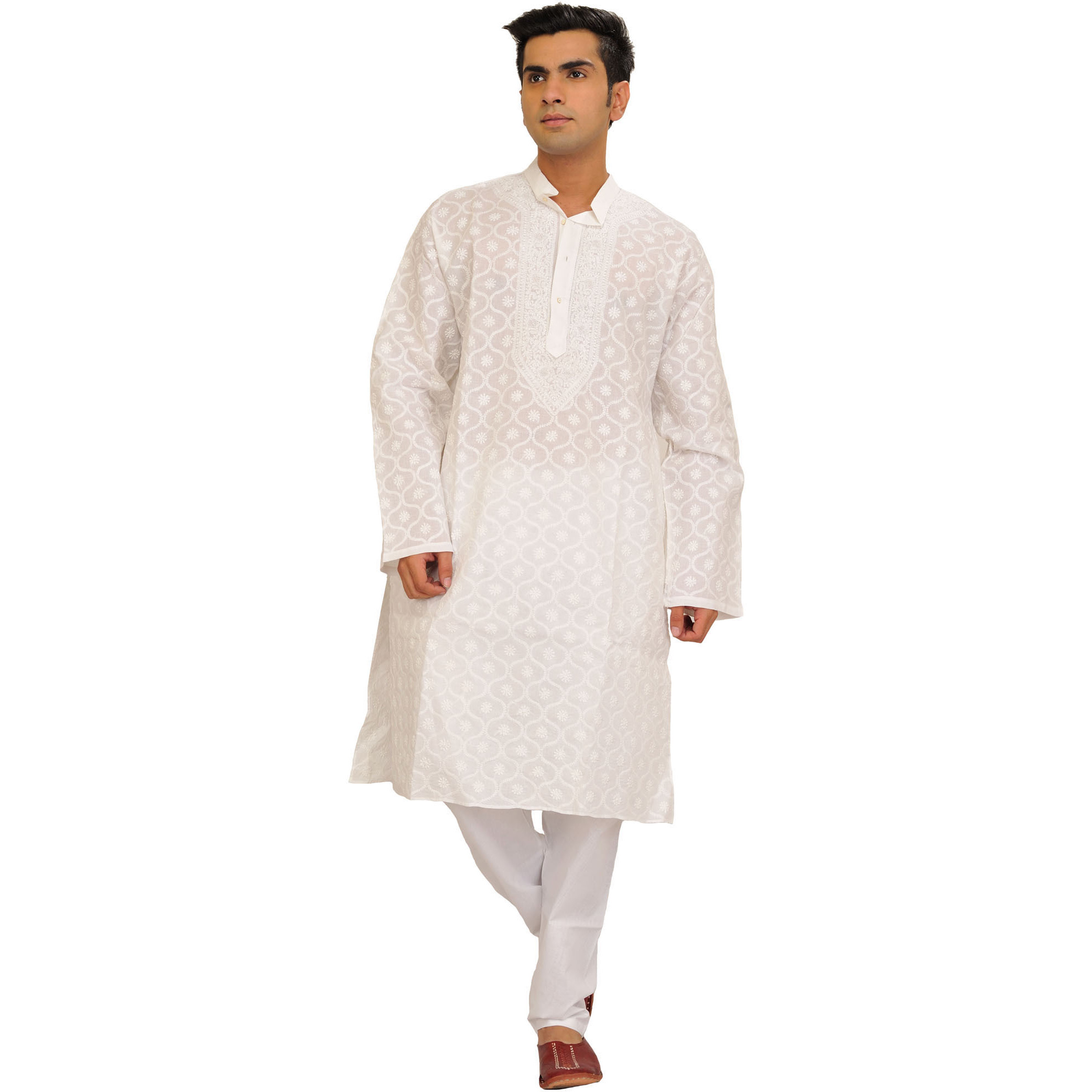 White Lukhnavi Chikan Hand-Embroidered Kurta Pajama Set