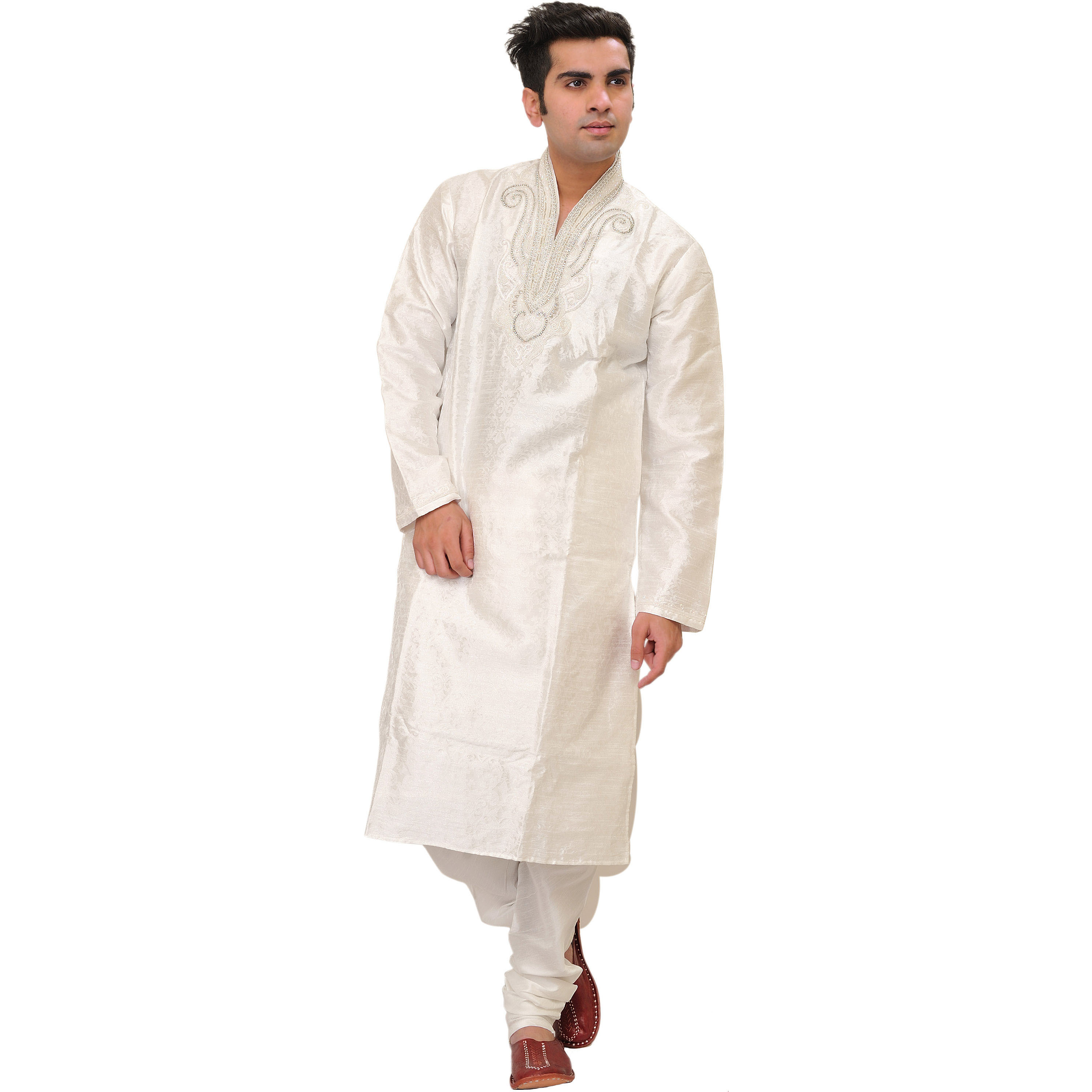 Bright-White Wedding Kurta Pajama Set with Floral Weave and Beads-Embroidery by Hand