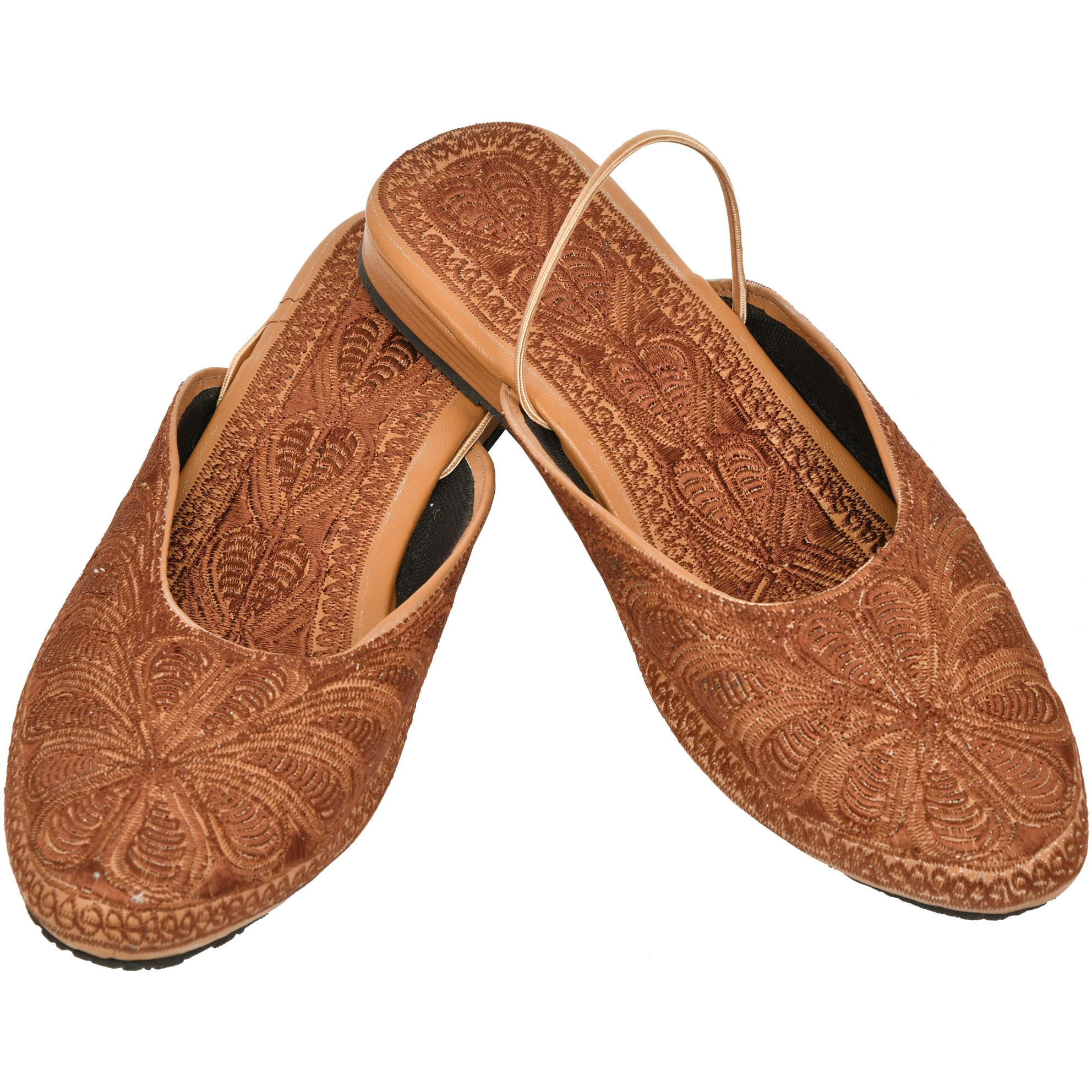 Thrush-Brown Slip-on Sandals with Floral-Embroidery